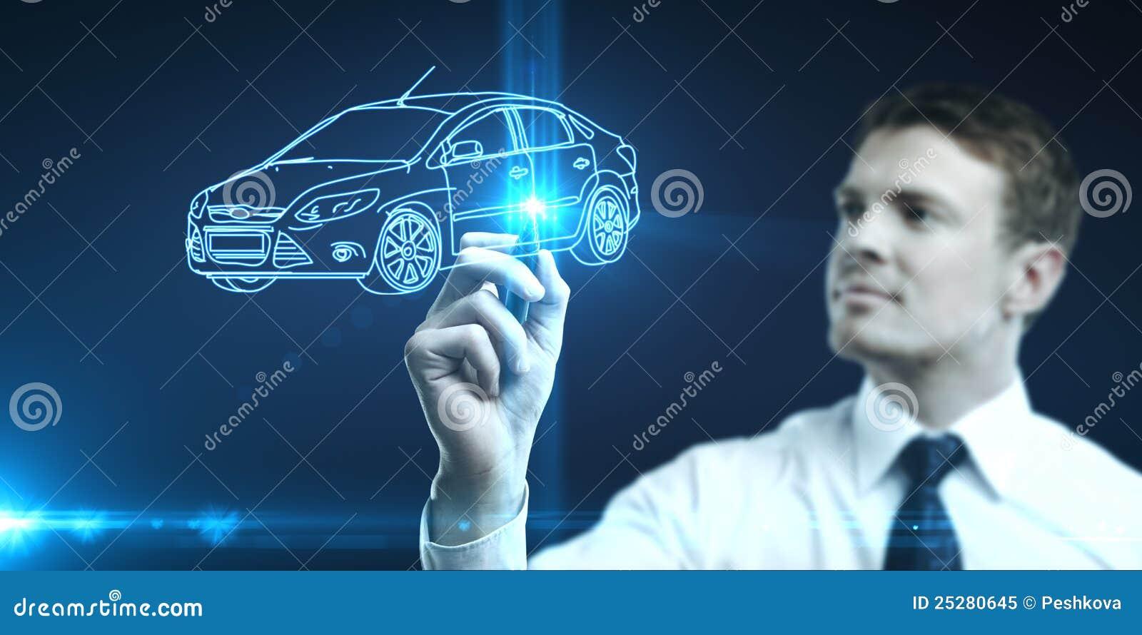 Mann zeichnet Auto
