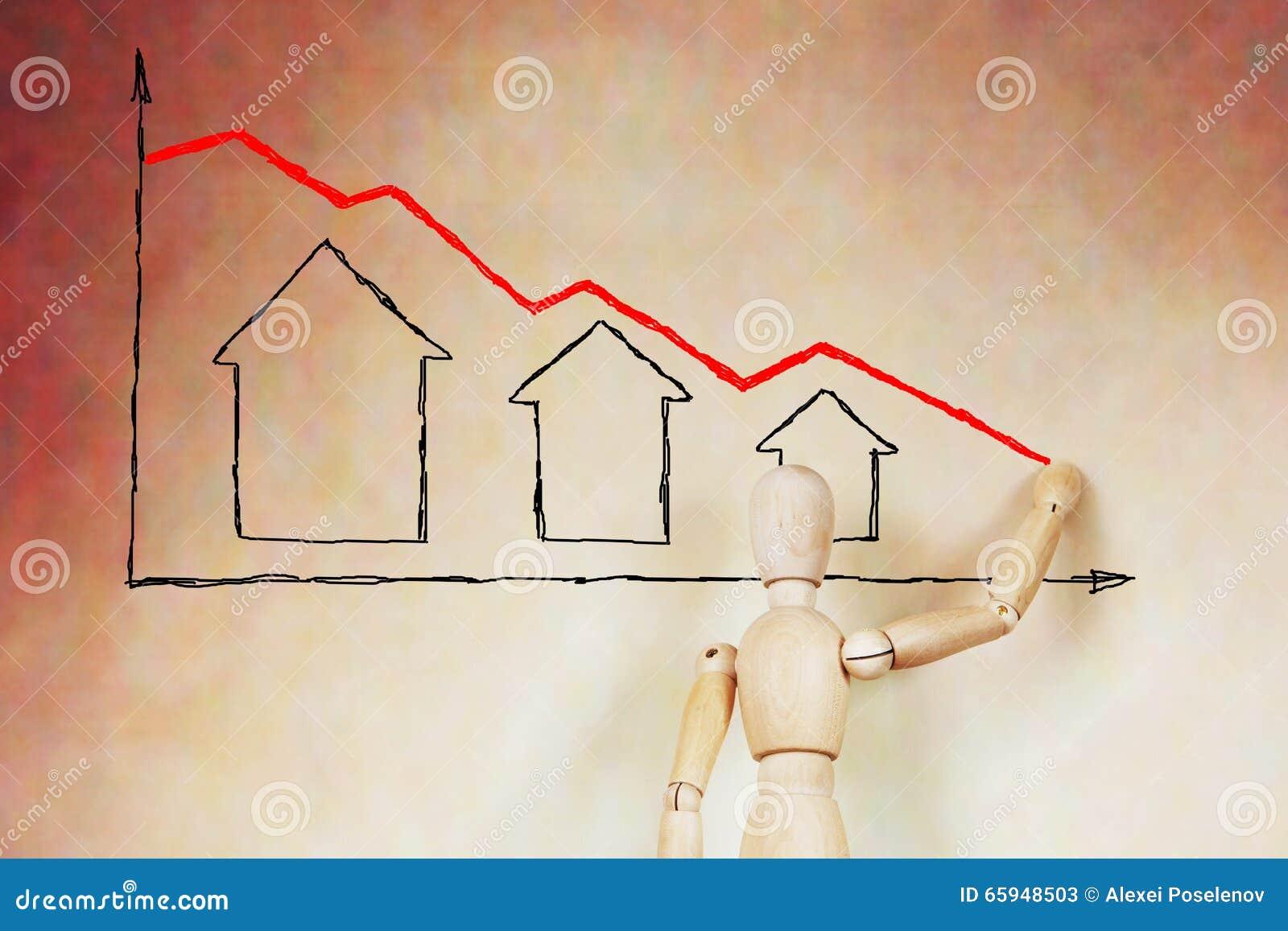 Tannenbaum Diagramm.Mann Zeichnet Das Diagramm Des Immobilienpreisverfalls Stockbild