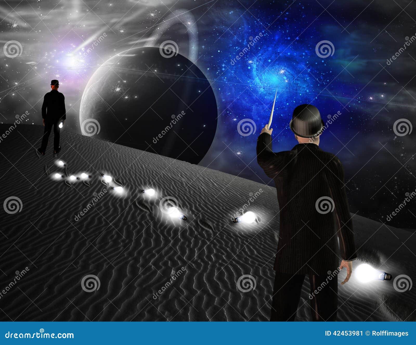 Mann zeigt auf Galaxie
