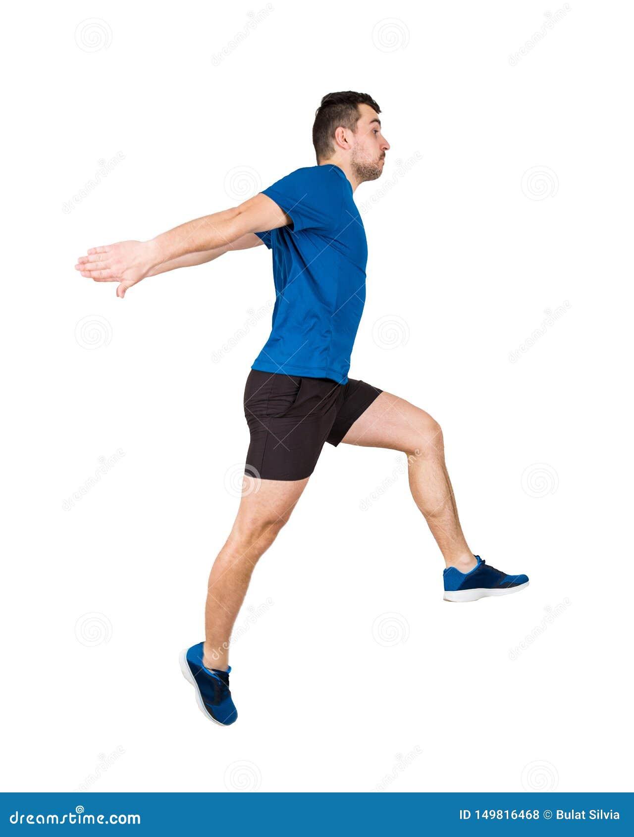 Mannathlet, der über das eingebildete Hindernis lokalisiert auf weißem Hintergrund springt Der junge Kerlläufer, der schwarze und
