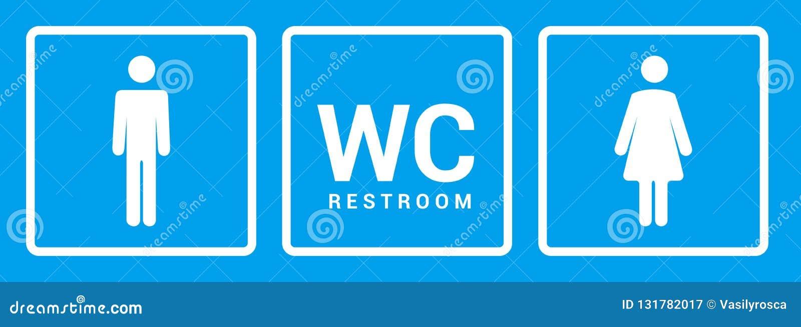 Mannelijk vrouwelijk badkamerspictogram Van het toiletjongen of meisje het symbool van het dameteken Het vectorconcept van toilet