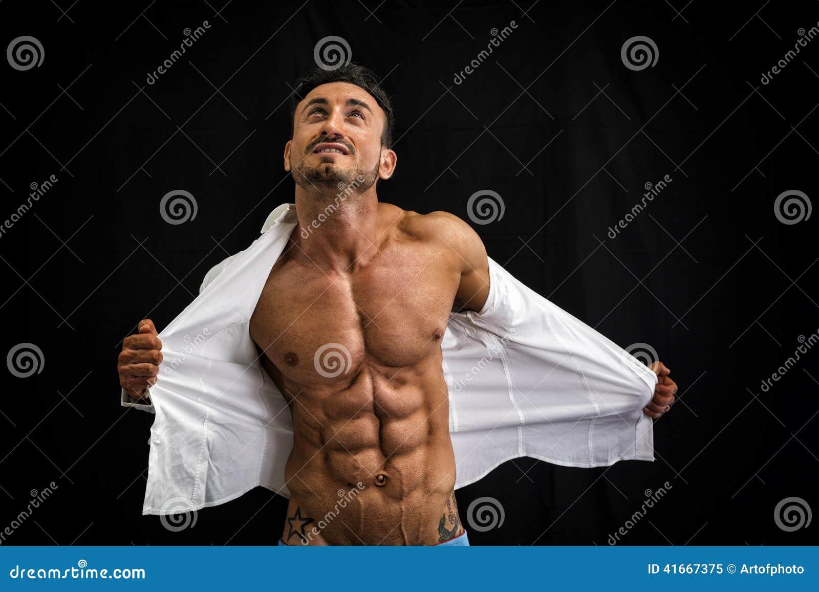 Overhemd Spiertorso Die Bodybuilder Zijn Opstijgen Mannelijke A5qjL4R3
