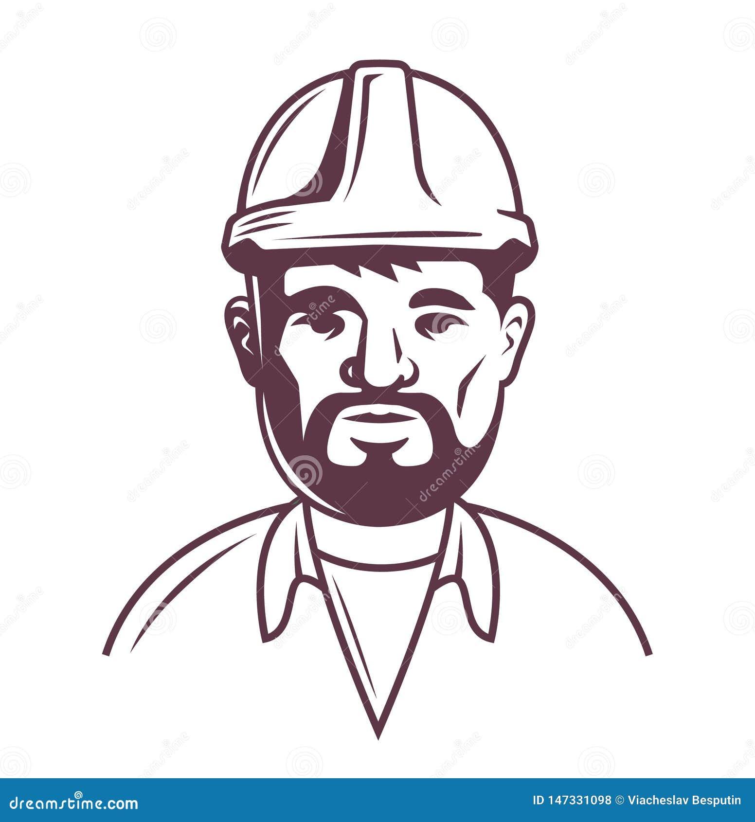 Mannelijke bouwer in helm op een witte achtergrond