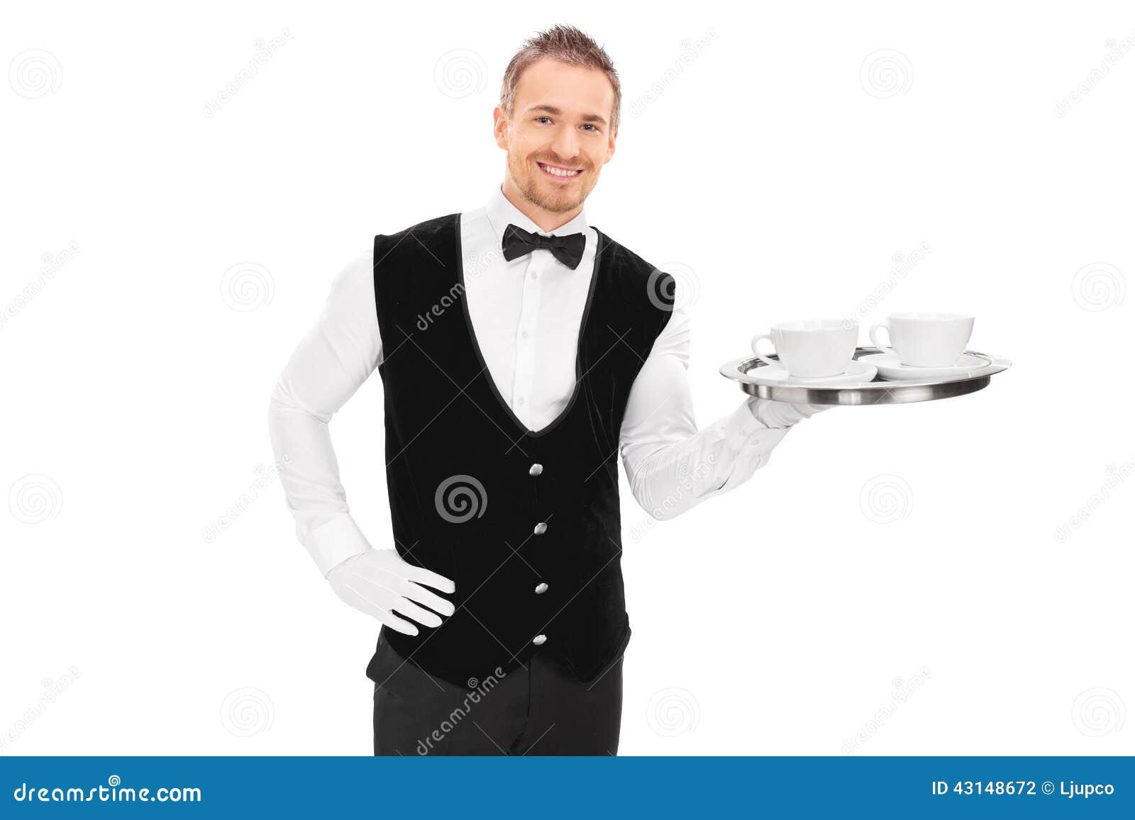 Mannelijke Butler Die Een Dienblad Met Twee Koppen Van