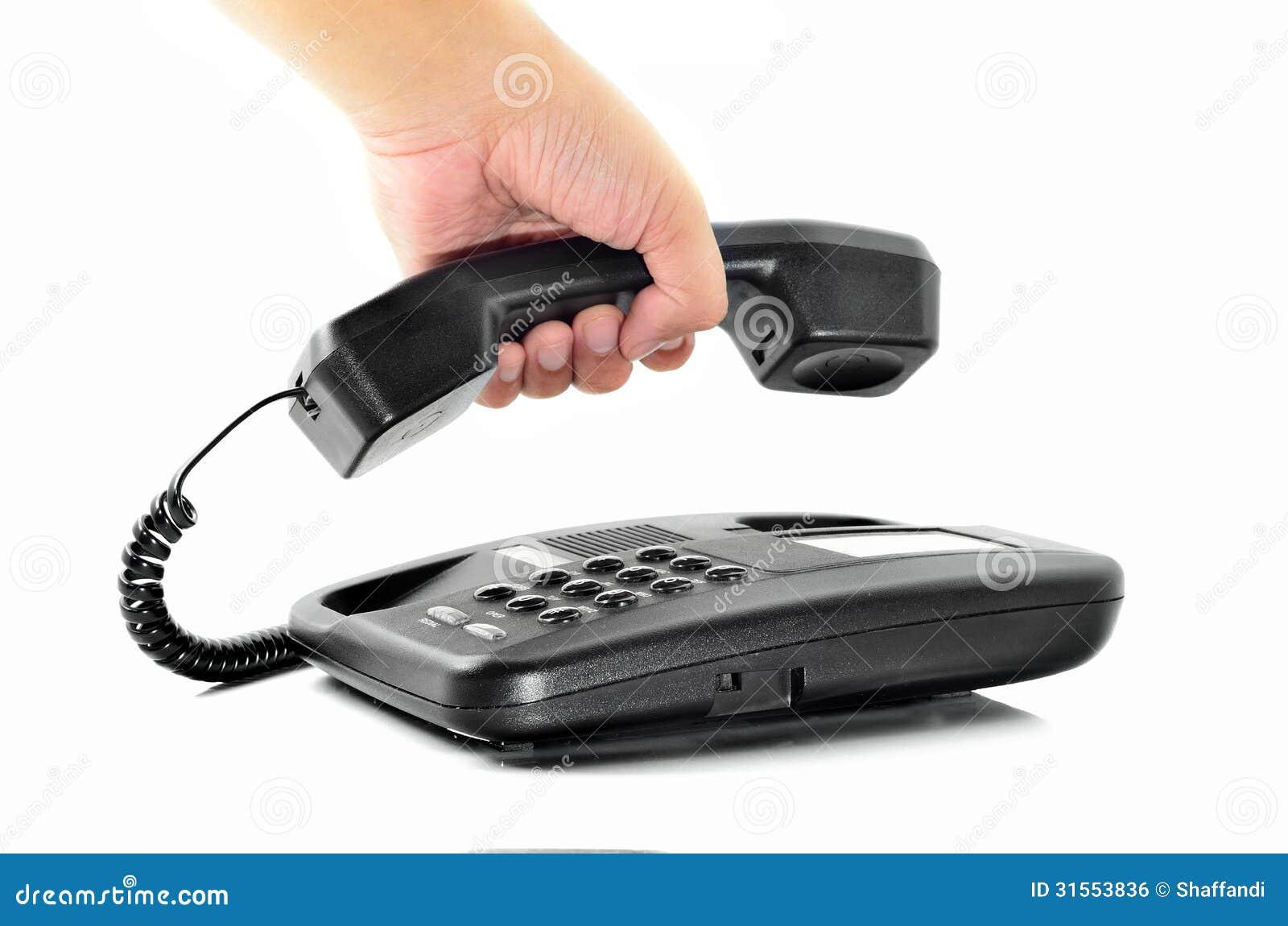 Mannelijke de telefoonontvanger van de handholding