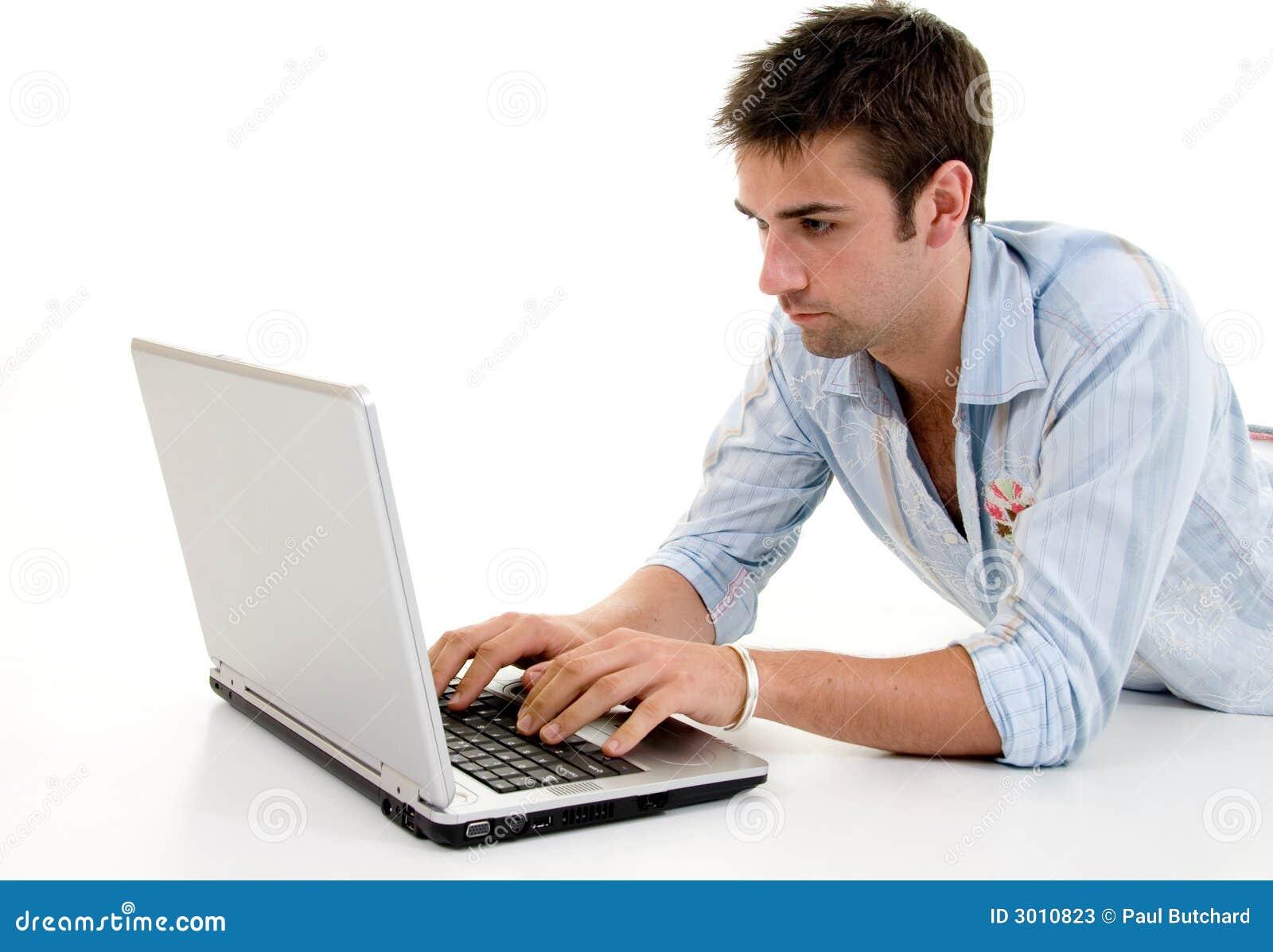 Mannelijke Gebruikende Laptop