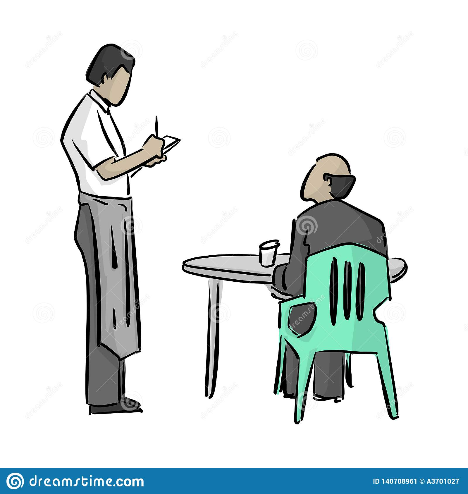 Mannelijke kelner die een nota vectorillustratie met zwarte lijnen schrijven die op witte achtergrond worden geïsoleerd
