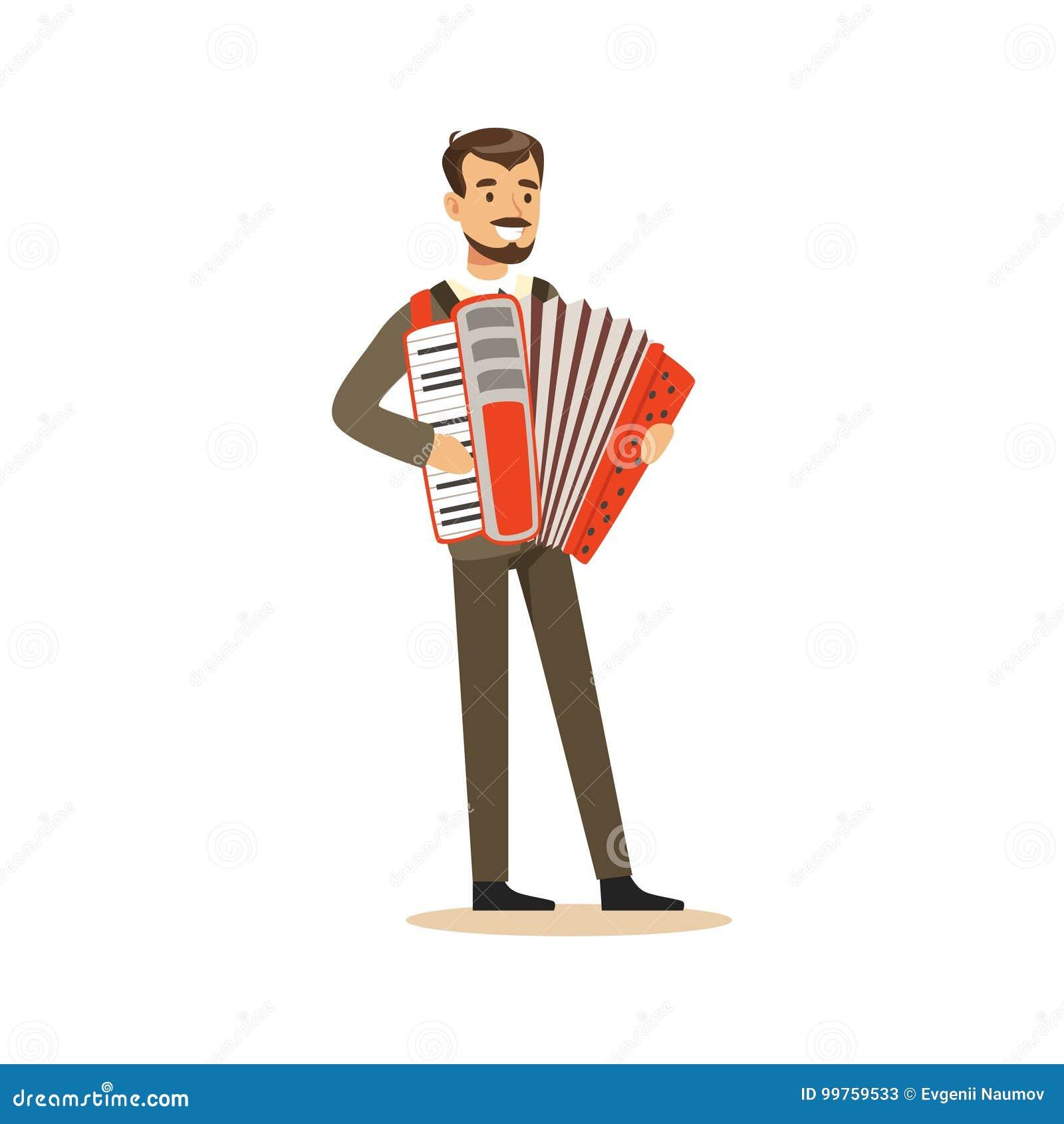 Mannelijke musicus die een klassieke vectorillustratie van de kostuum speelharmonika dragen