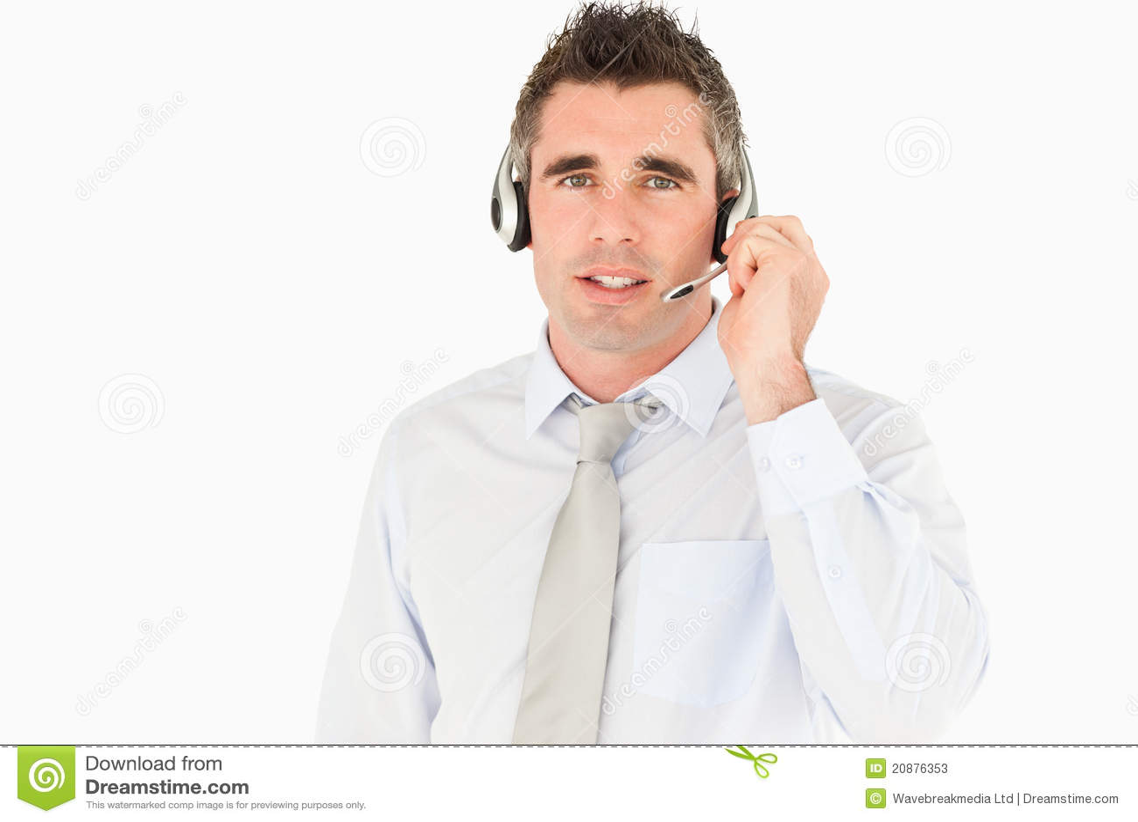 Mannelijke secretaresse die door een hoofdtelefoon spreekt stock foto 39 s afbeelding 20876353 - Secretaresse witte ...