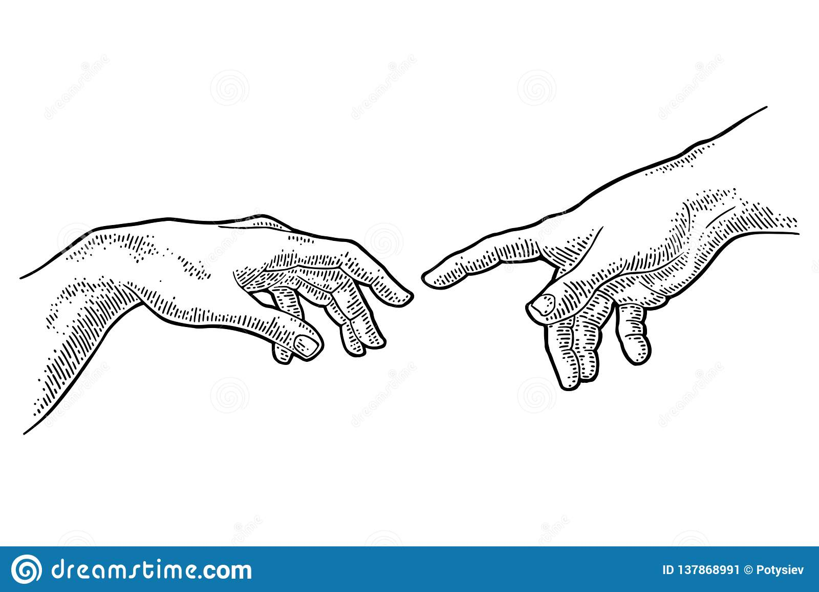 Mannelijke vinger die de hand van de aanrakingsgod richten De verwezenlijking van Adam