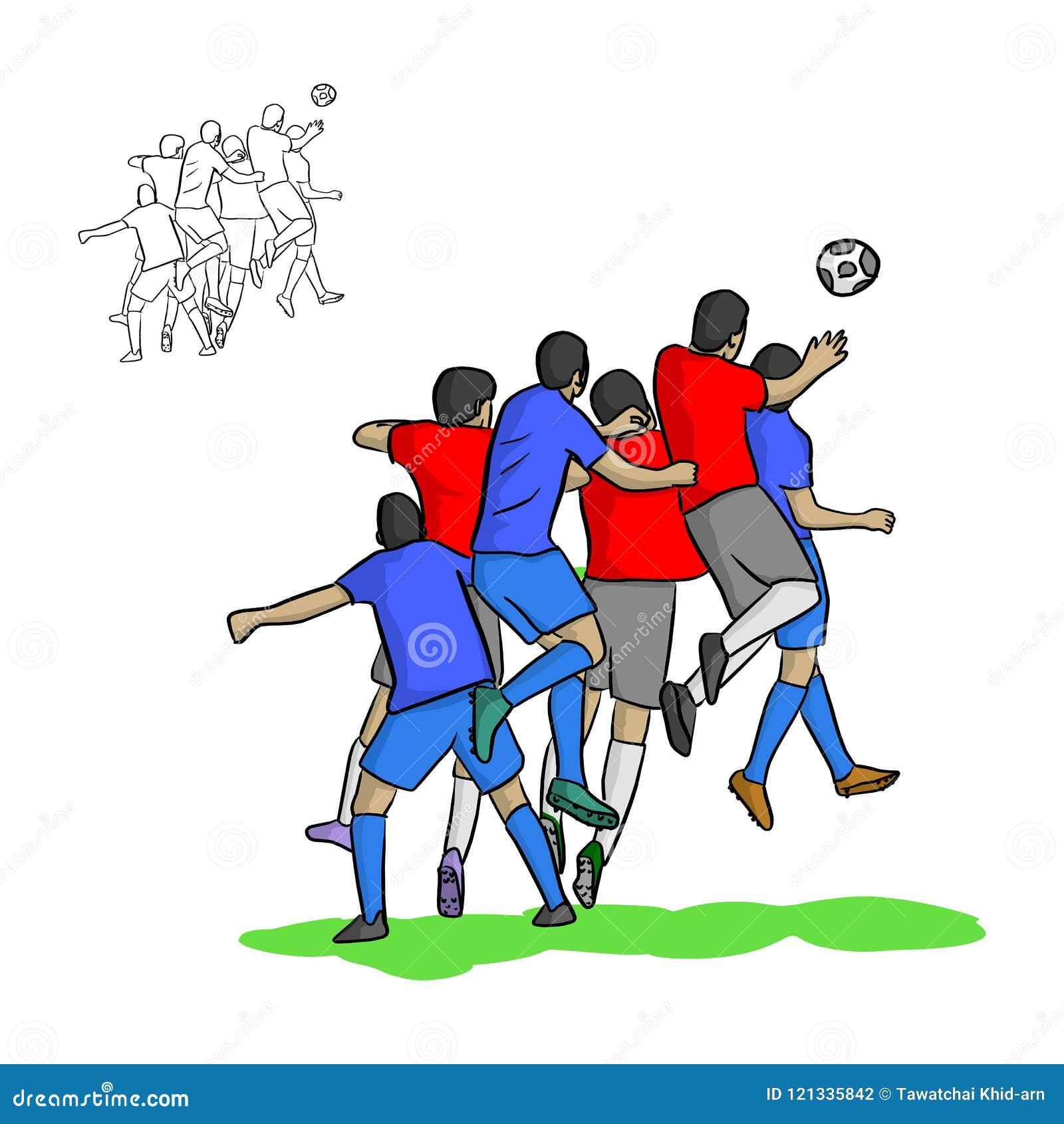 Mannelijke voetballers die een bal in lucht vectorillustratio leiden