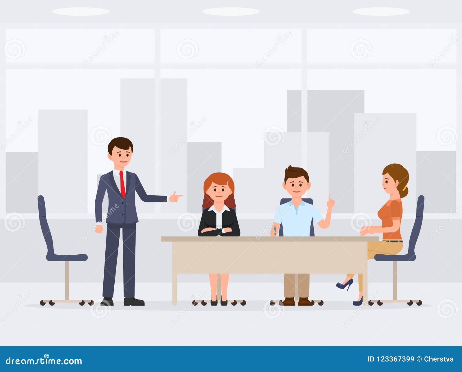 Mannen en vrouwen bij het het beeldverhaalkarakter van de bureauvergadering Het werk proses gesprek