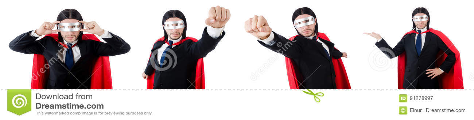 Mannen i röd räkning på vit