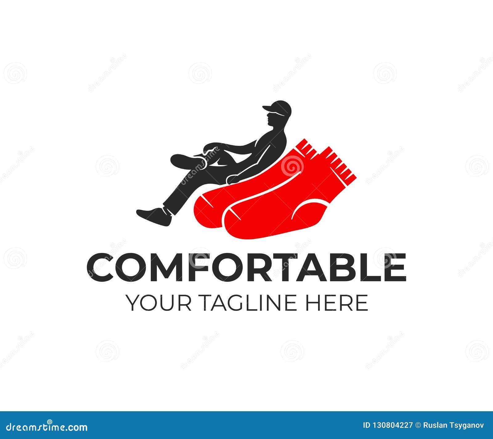 Mannen korsar deras ben som sitter på sockor som i fåtöljen, logodesign Industriell, kläder-, dräkt- och textilbransch för bransc