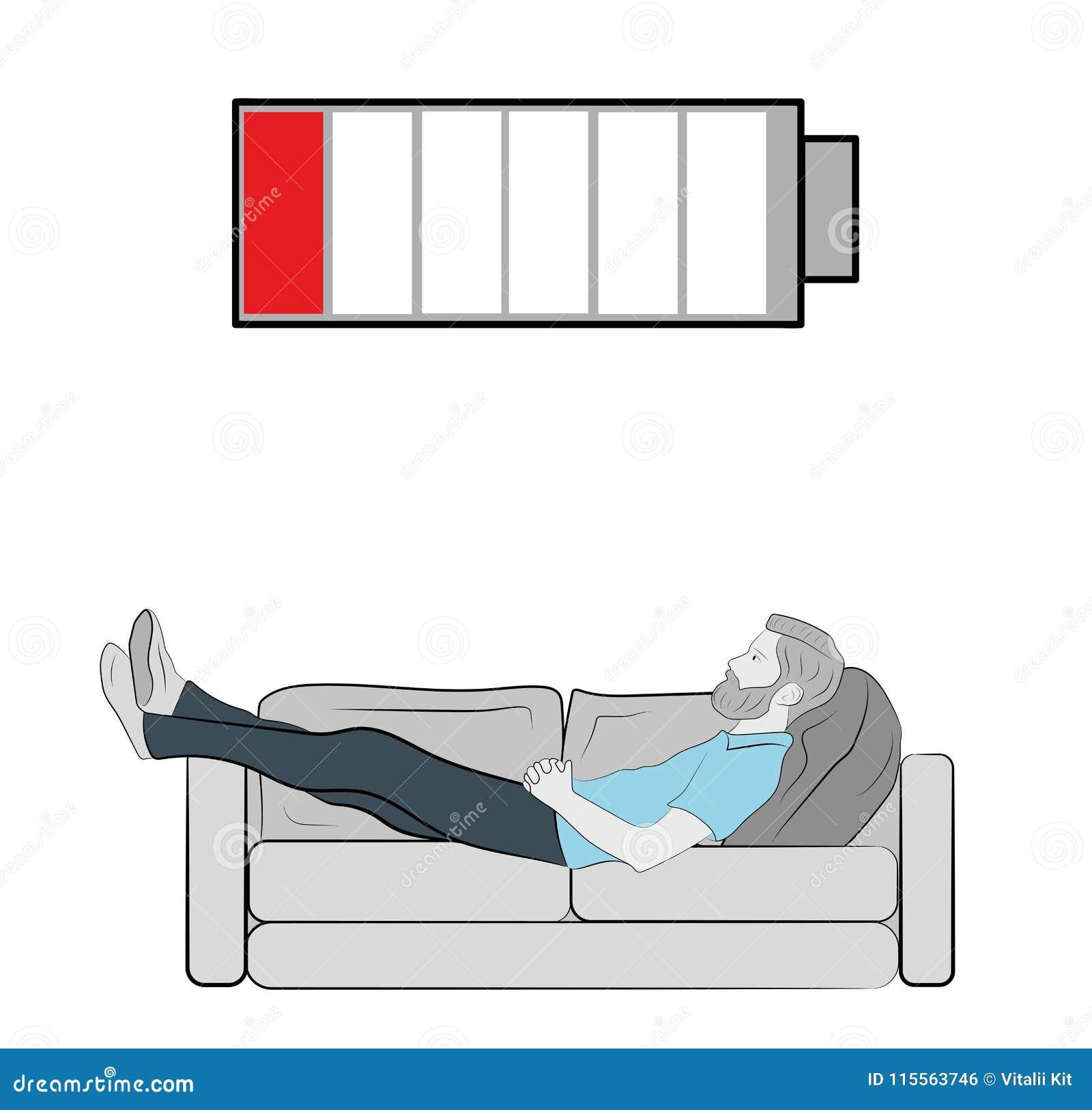 Mannen ligger på den tröttade soffan ovanför den är ett att rasa batteri Begrepp av rekreation också vektor för coreldrawillustra