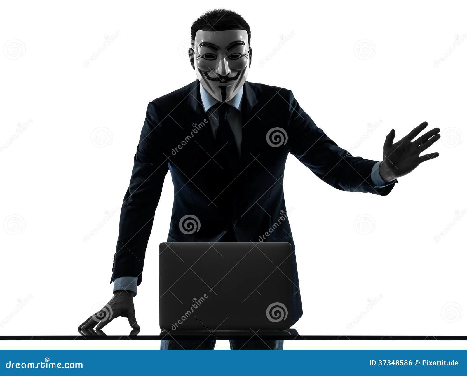 Mannen maskerade den beräknande datoren för den anonyma gruppmedlemmen som saluterar si