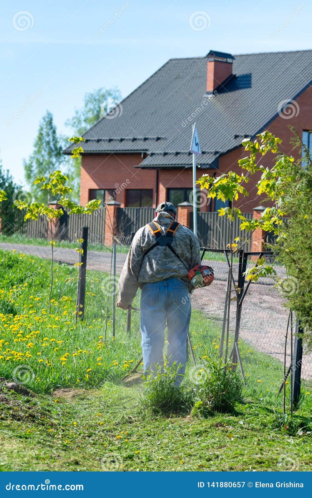 Mannen med en manuell gräsklippare mejar gräset