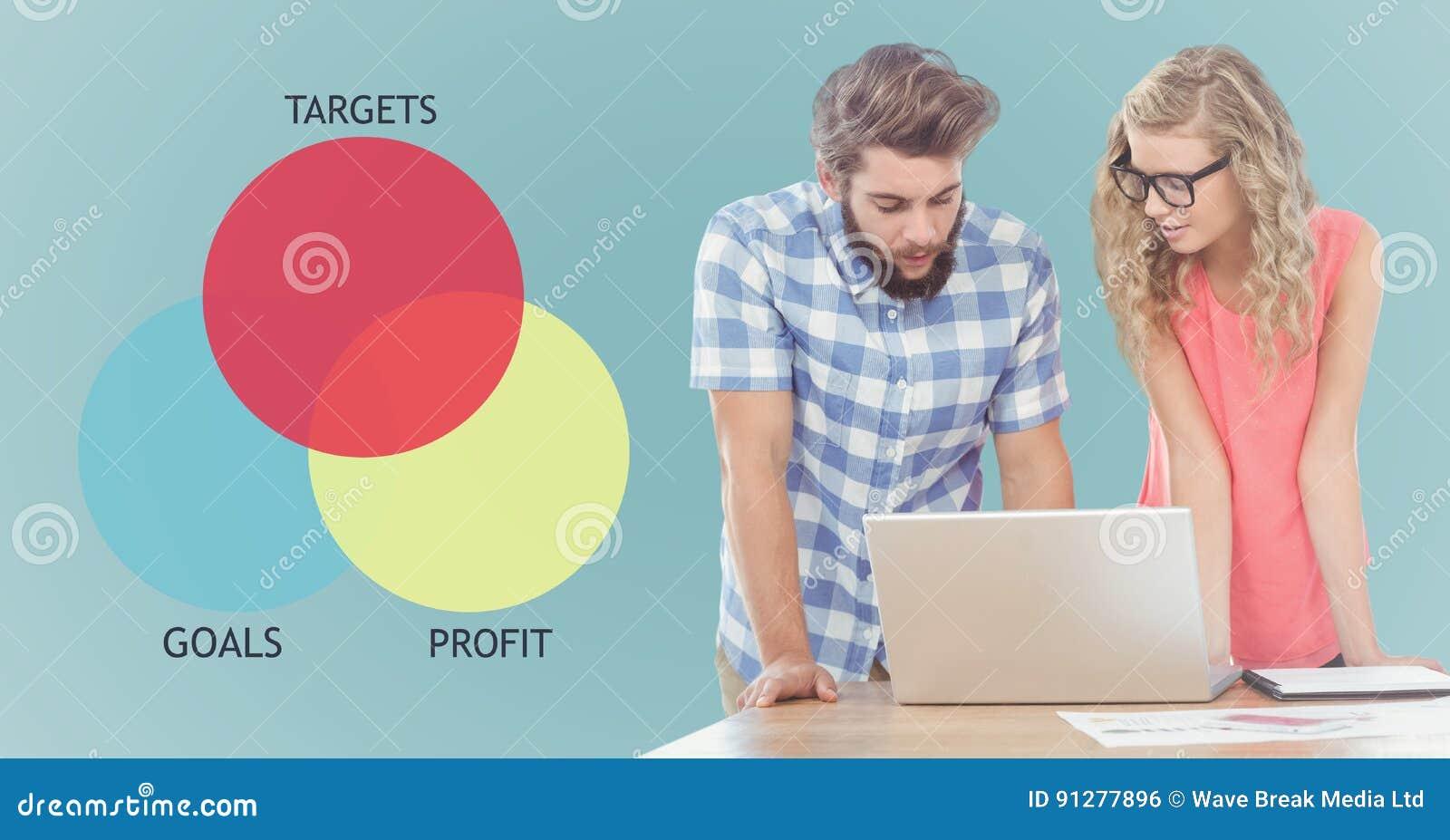 Mannen och kvinnan på bärbara datorn och ven diagram mot blå bakgrund