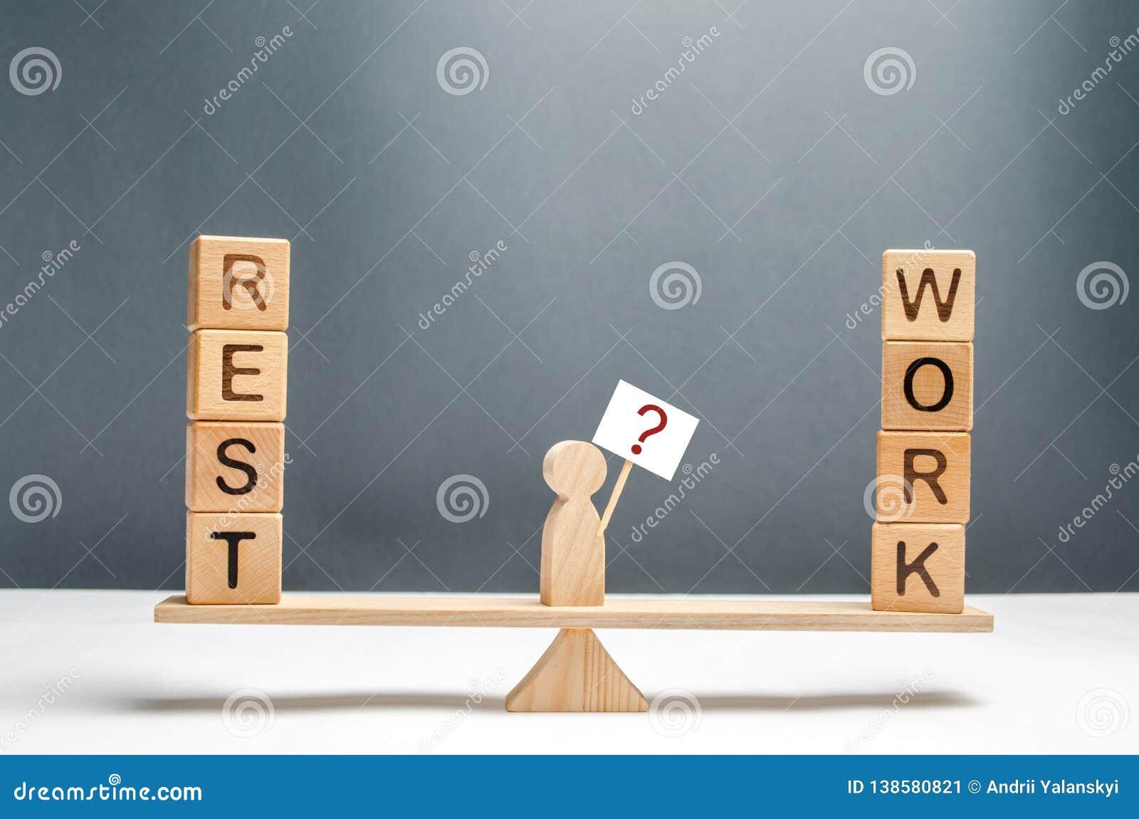 Mannen på vågen med en affisch och ett tecken av frågor Valet mellan arbete och att vila begrepp av den högra jämvikten