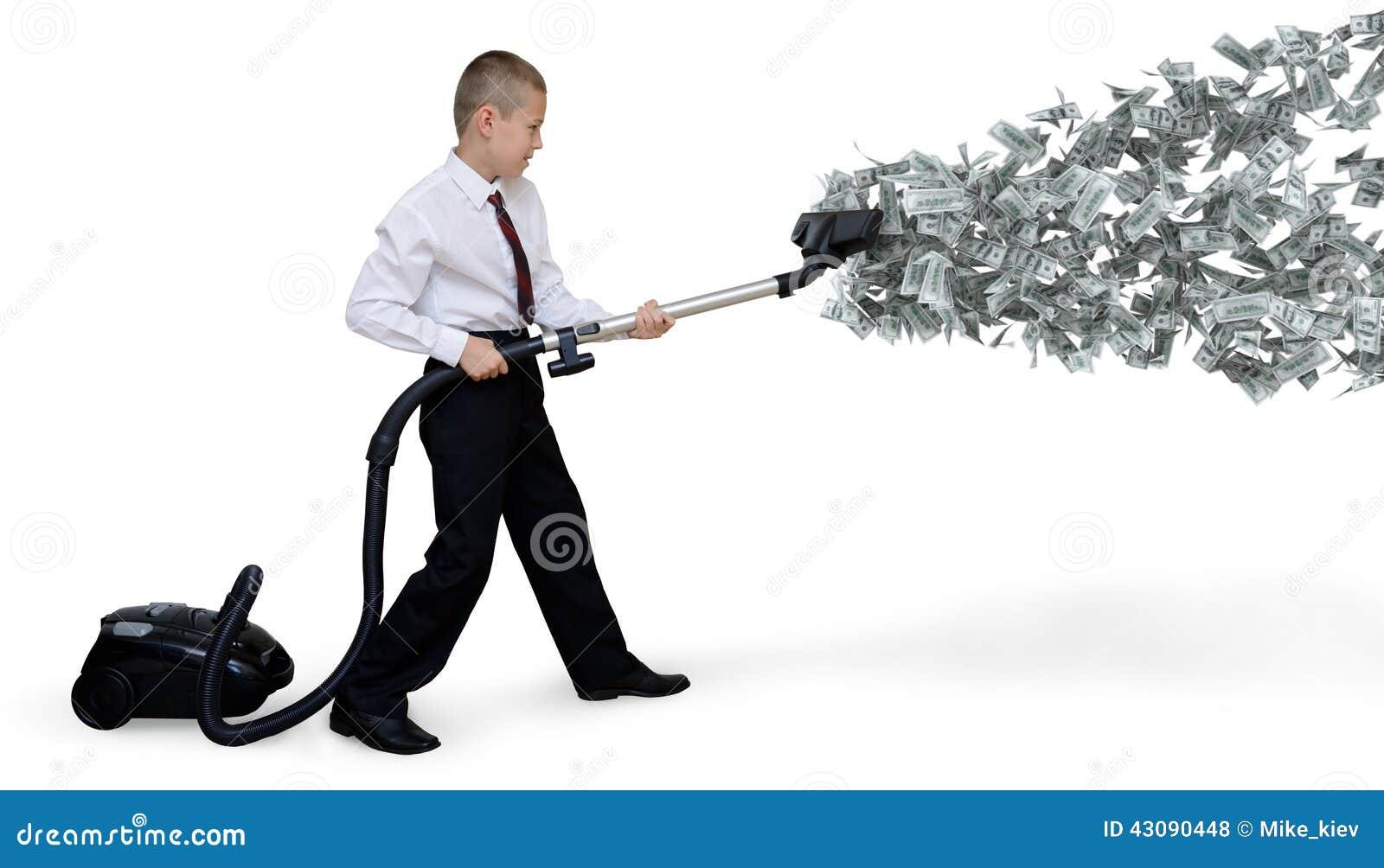 Mannen samlar pengarvakuum