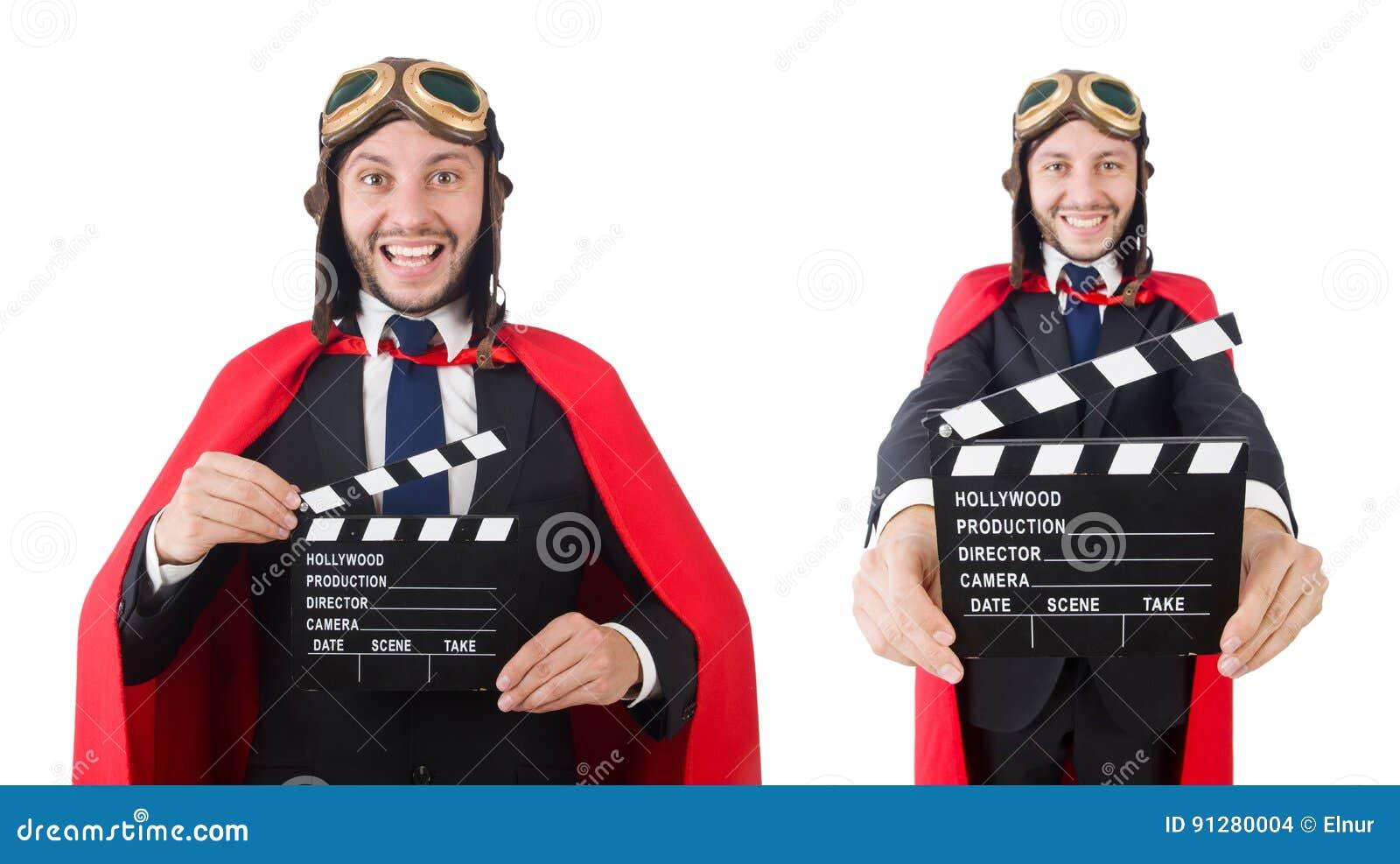 Mannen som bär röda kläder i roligt begrepp