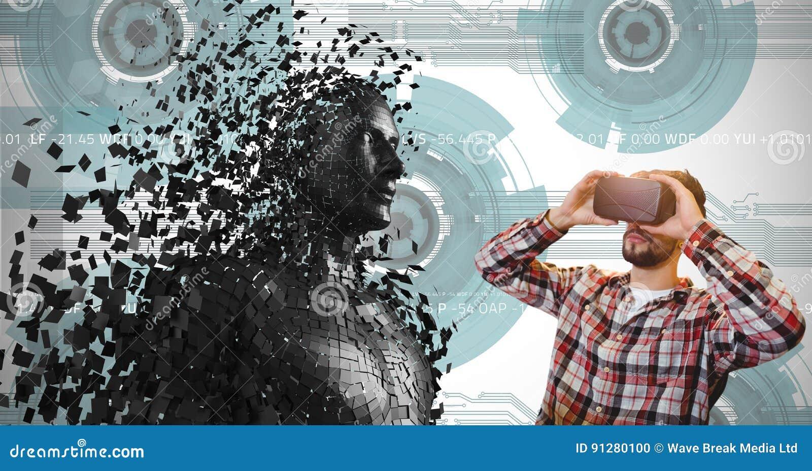 Mannen som ser 3d, spridde det mänskliga diagramet på VR-exponeringsglas