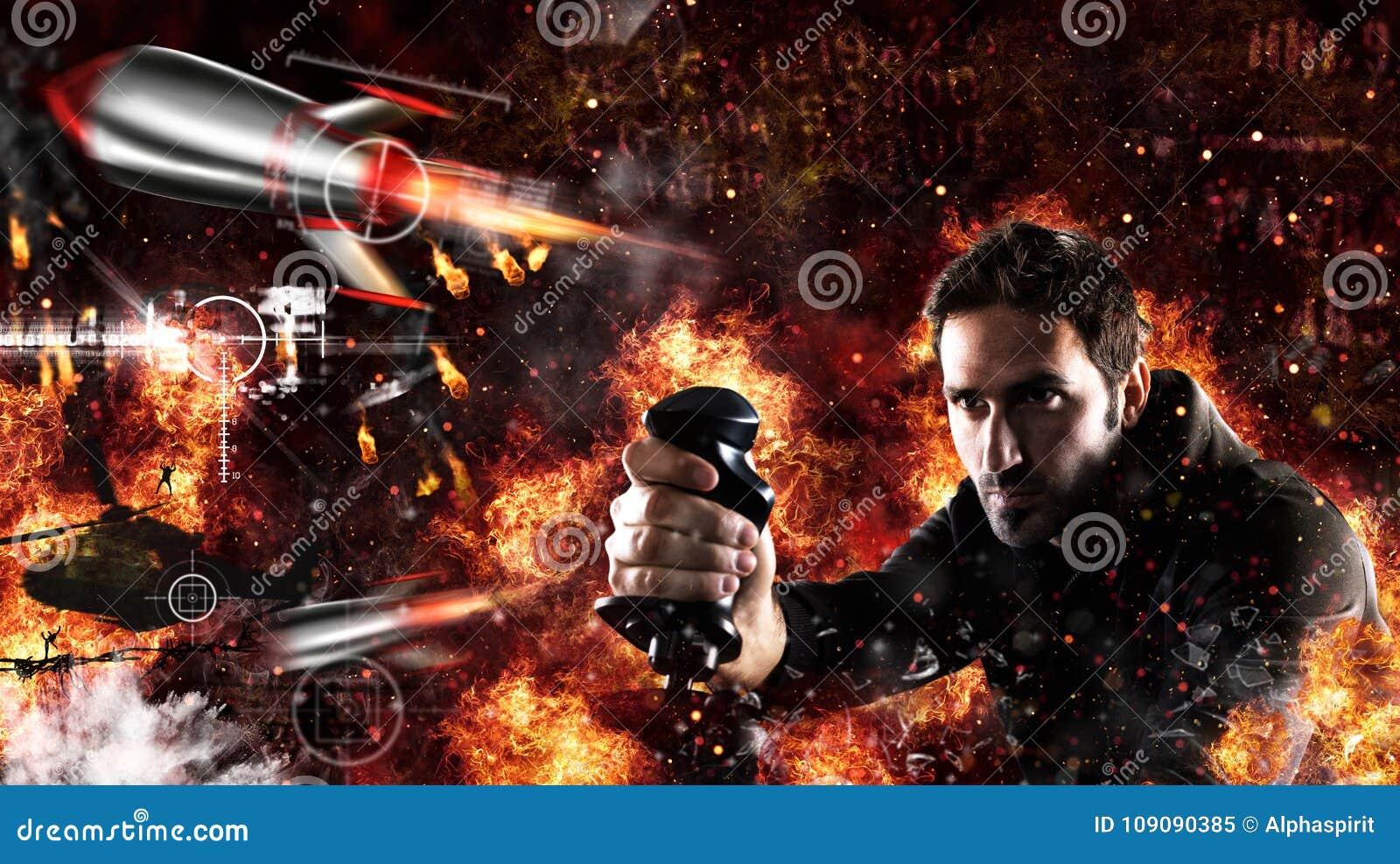 Mannen spelar med videogames med styrspaken en krigstrid