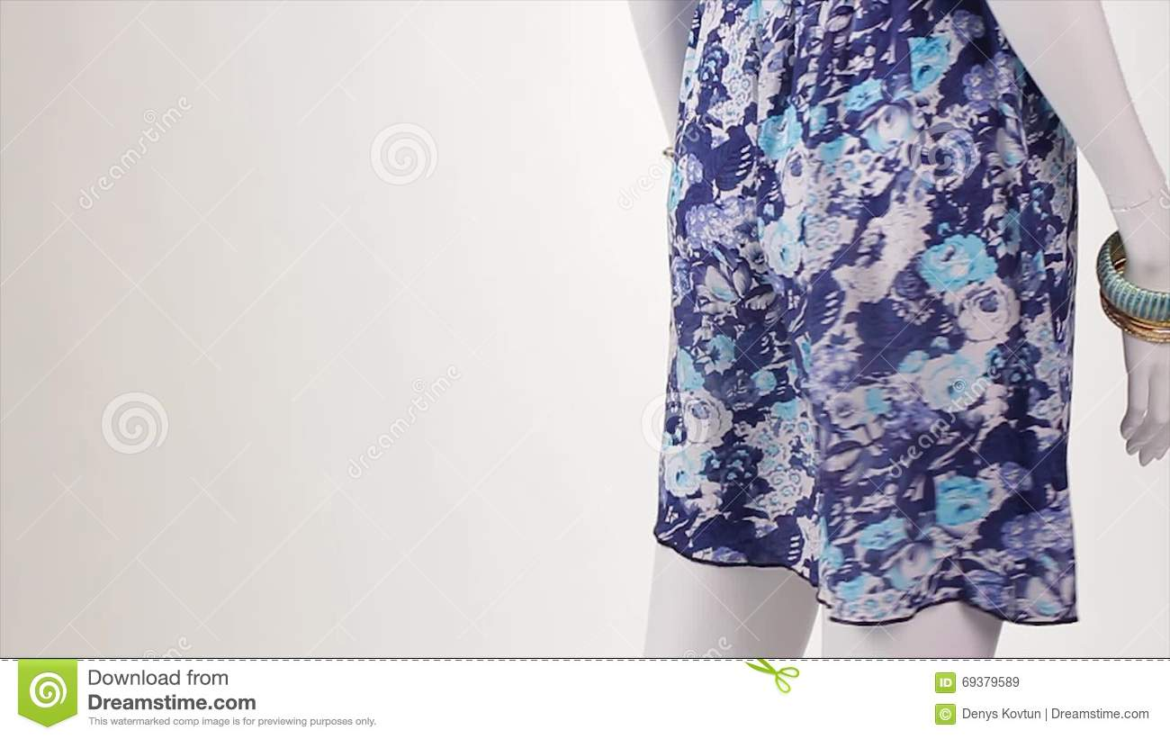 7a9a5740de4b Mannequin In Blue Sarafan Turning. Stock Video - Video of clothes ...