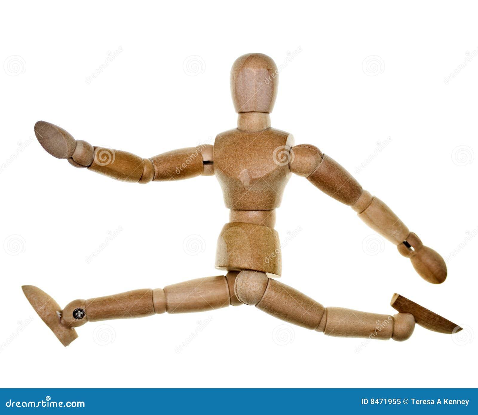 Mannequin de madeira levantado