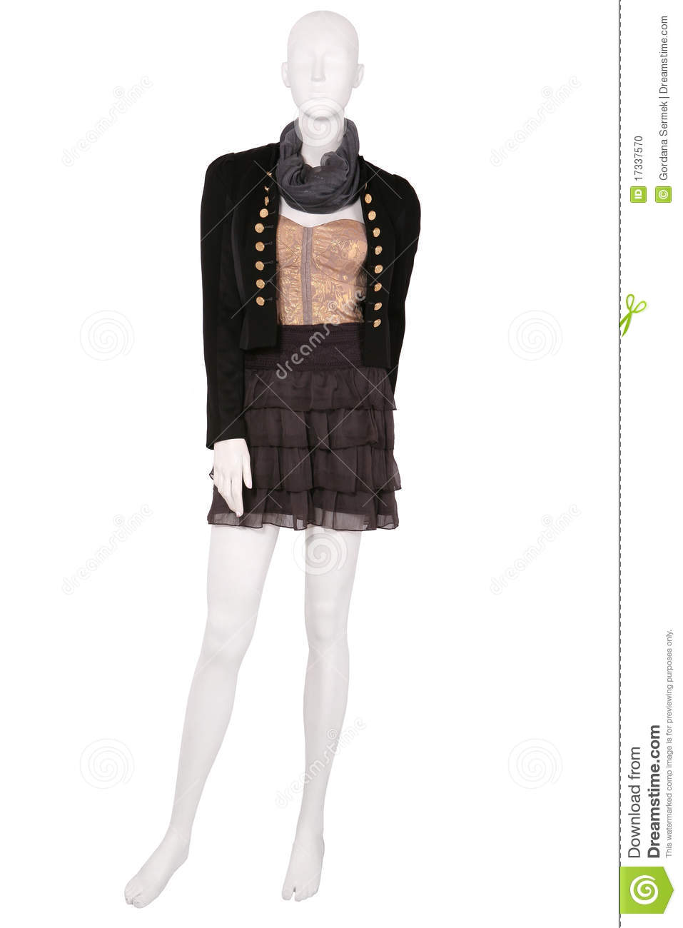 mannequin dressed in fashionable clothes stock photo
