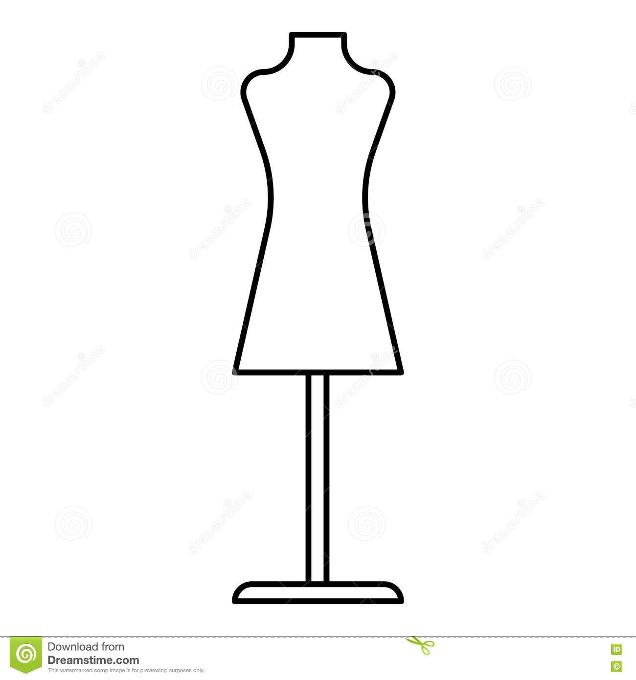 Mannequin Icon Outline Style Stock Vector