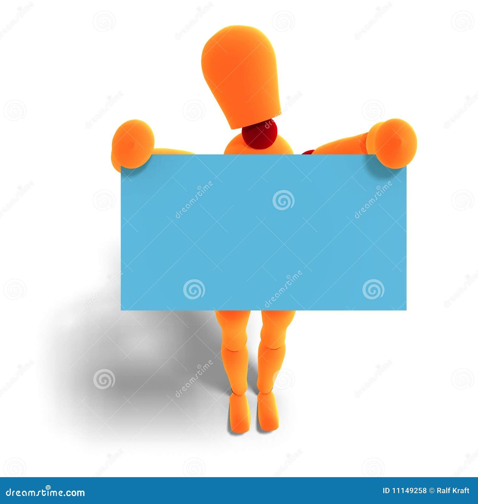 Rendu 3D De Mannequin Orange Rouge Qui Retient Une Carte Visite Professionnelle Avec Le Chemin Dcoupage Et Lombre Au Dessus Du Blanc