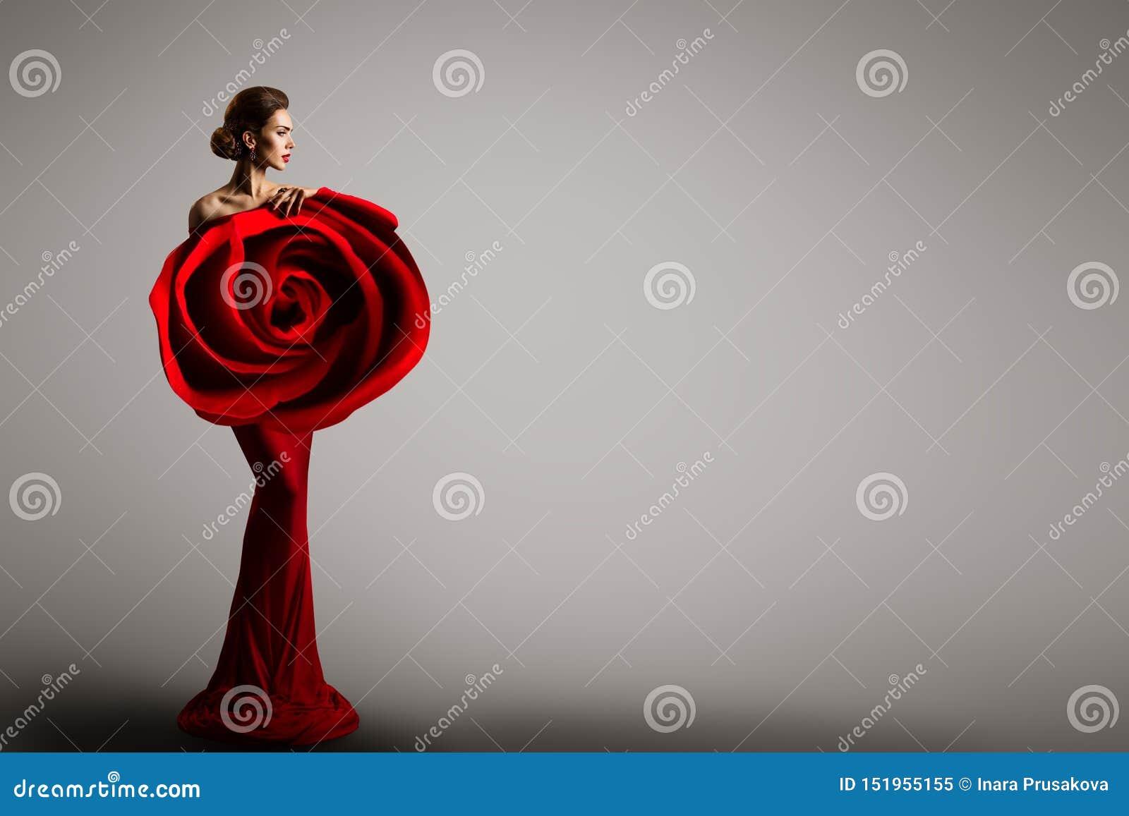 Mannequin Rose Flower Dress, femme élégante Art Gown rouge, portrait de beauté