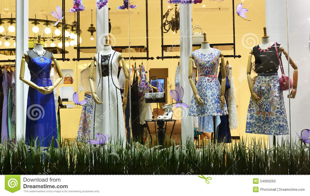 Women's Dress Shop Window Stock Photo - Image: 54895821