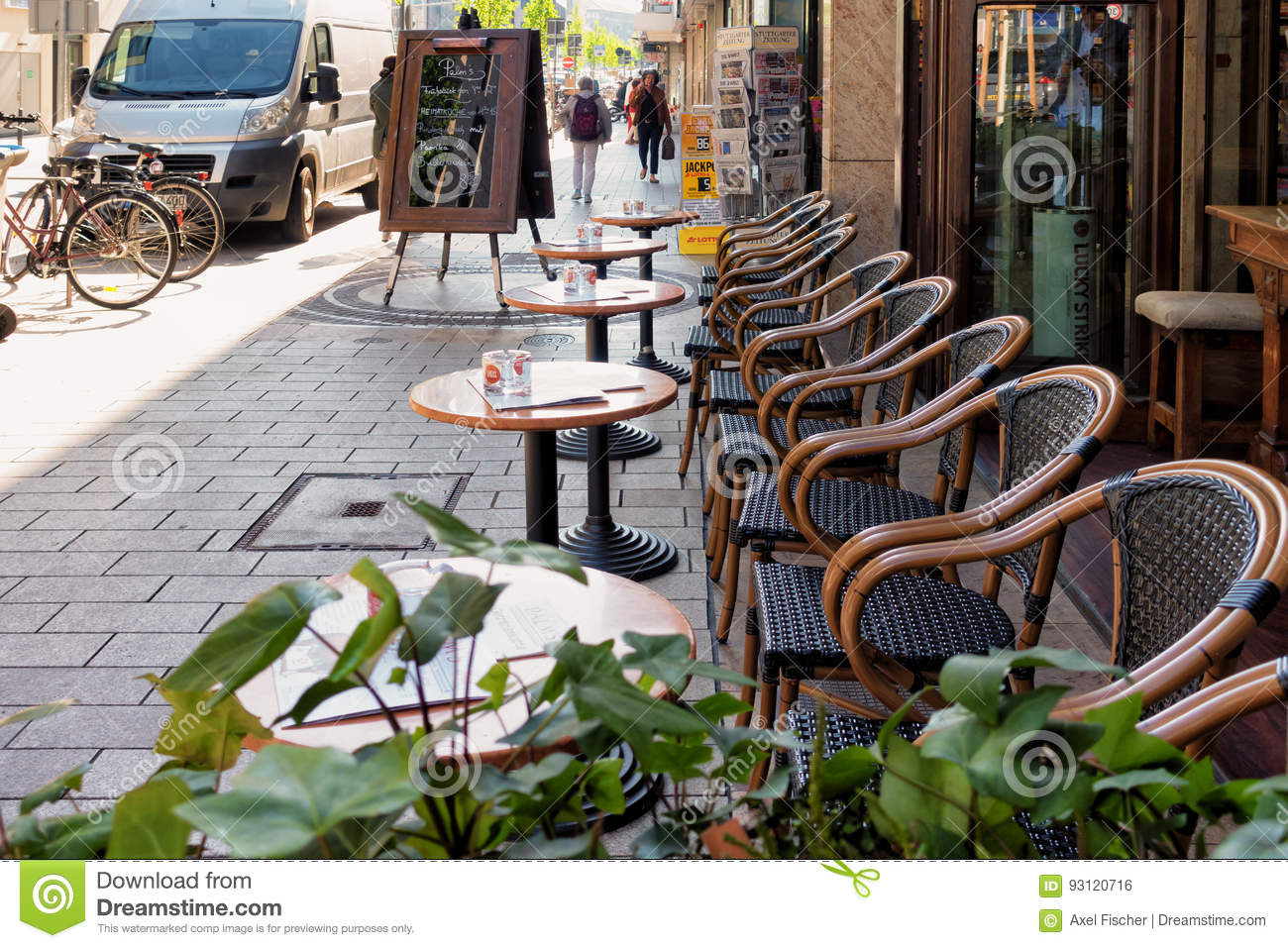 MANNHEIM, GERMANY - April 10, 2017: Tables With Chairs