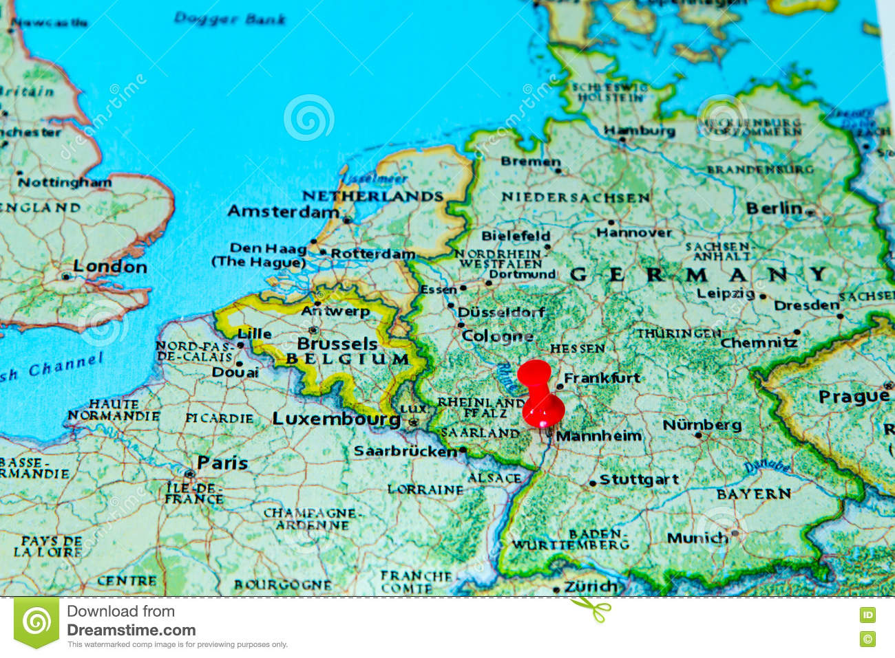 Mannheim Germany Pinned On A Map Of Europe Stock Photo Image Of