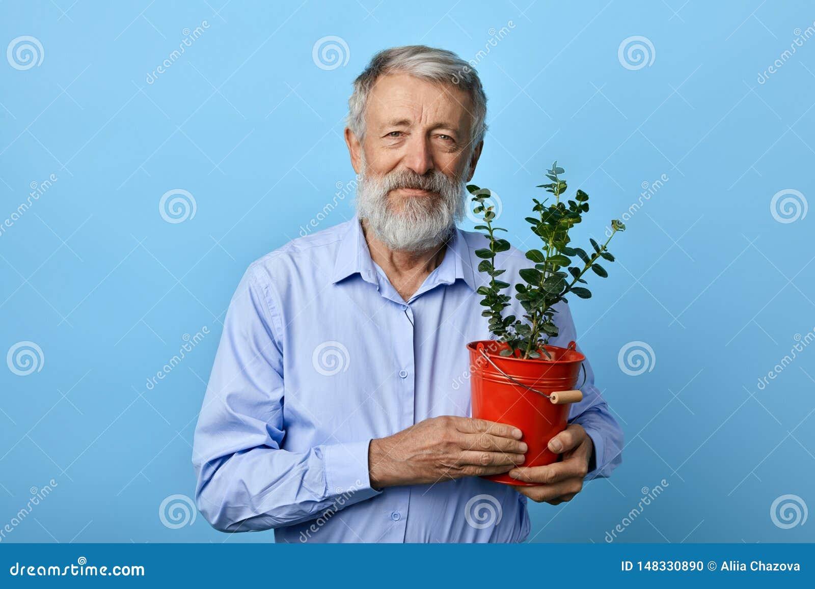 Mannholding-Blumentopf der positiven Art alter bärtiger mit Grünpflanzehaus