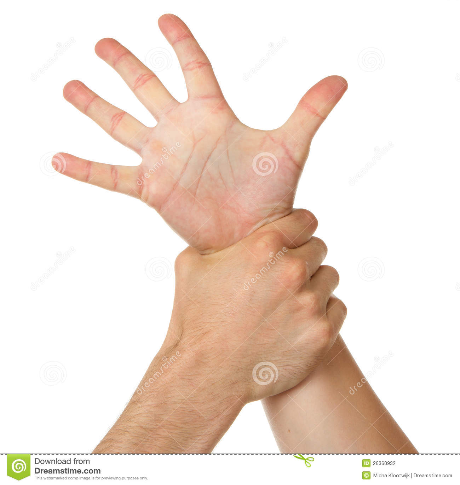 Mannholdingfrau durch Handgelenk