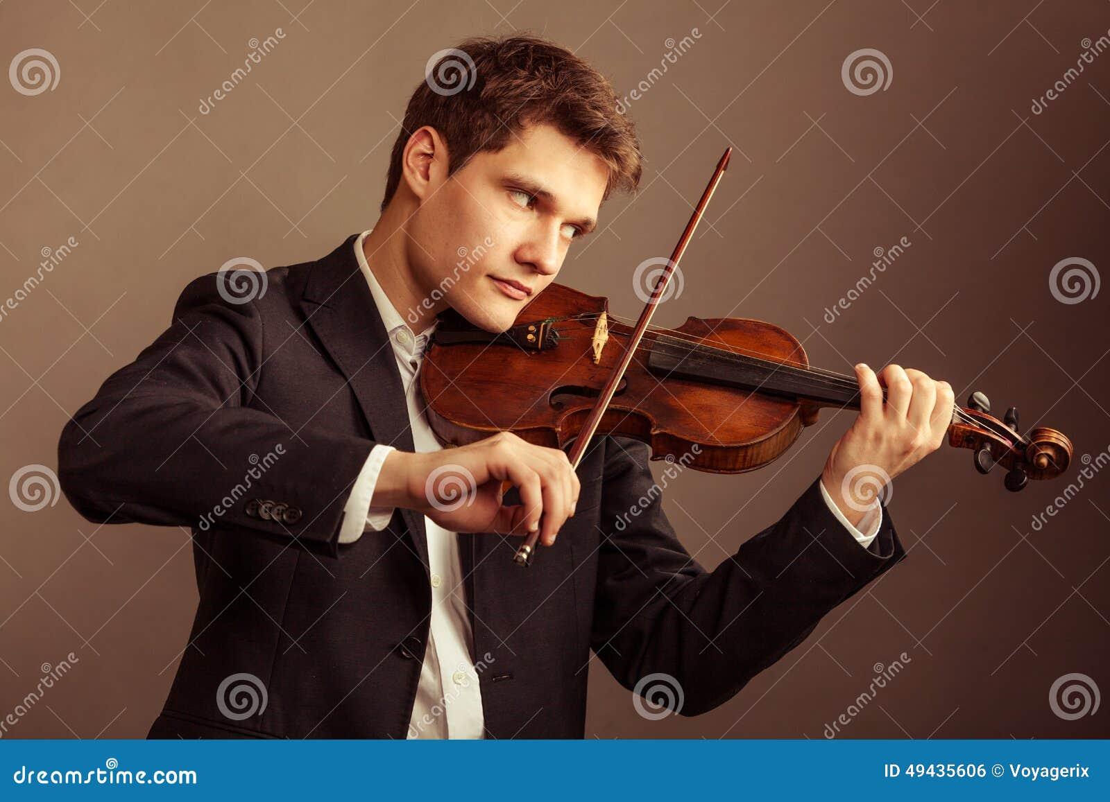 Mannviolinist Der Violine Spielt Kunst Der Klassischen Musik