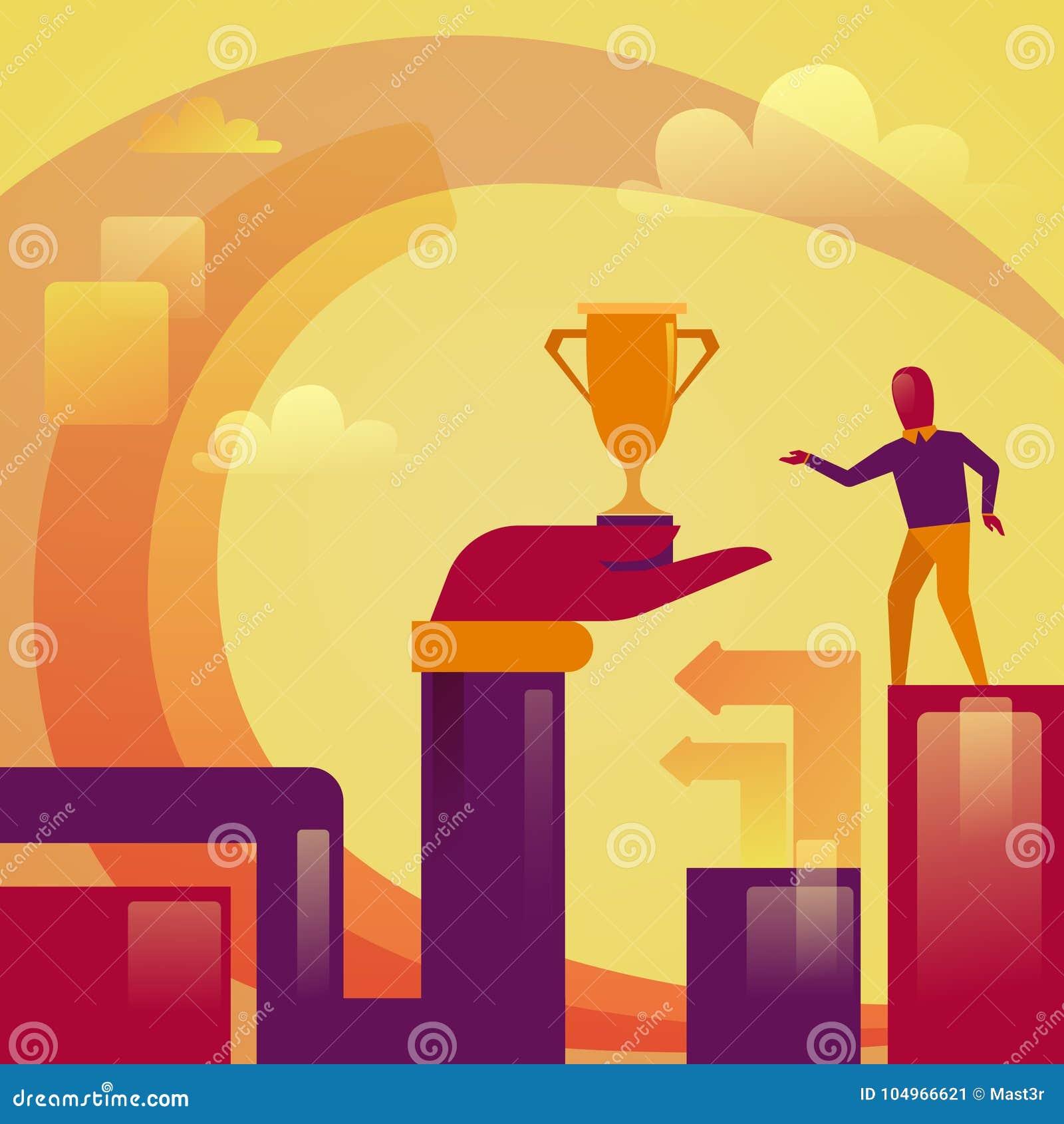 Mano abstracta que sostiene la taza de oro al concepto acertado del ganador del hombre de negocios
