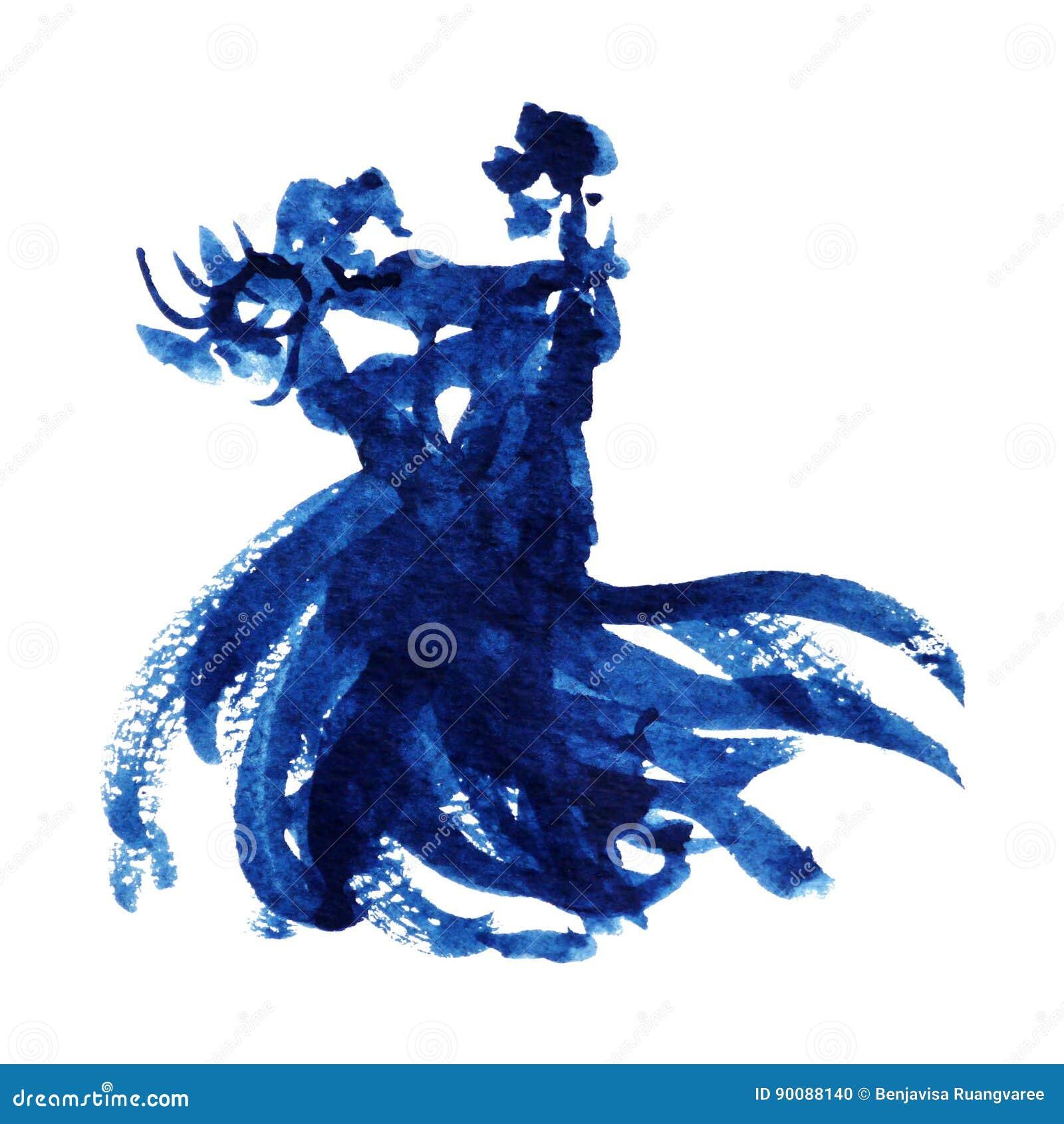 Mano azul del diseño del ejemplo de la pintura de la acuarela del amante del baile de los pares dibujada
