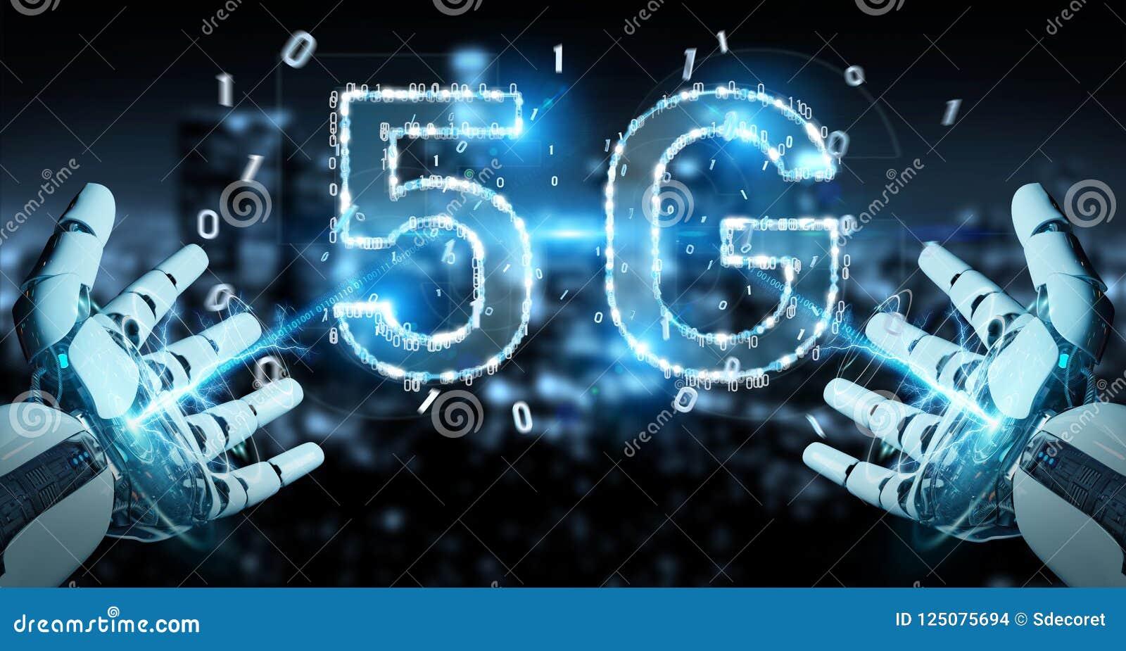 Mano blanca del cyborg usando la representación digital del holograma 3D de la red 5G