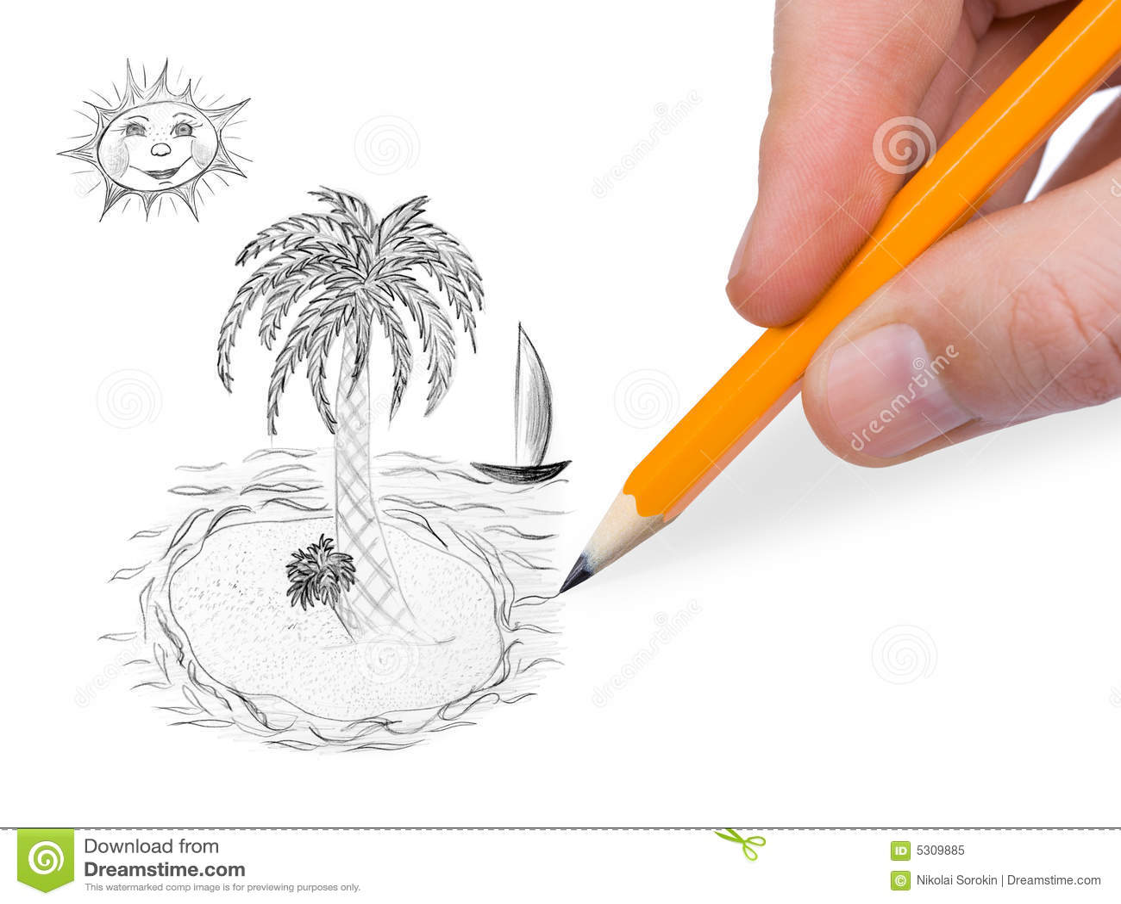 Download Mano Che Dissipa Isola Tropicale Immagine Stock - Immagine di ricorso, isolato: 5309885