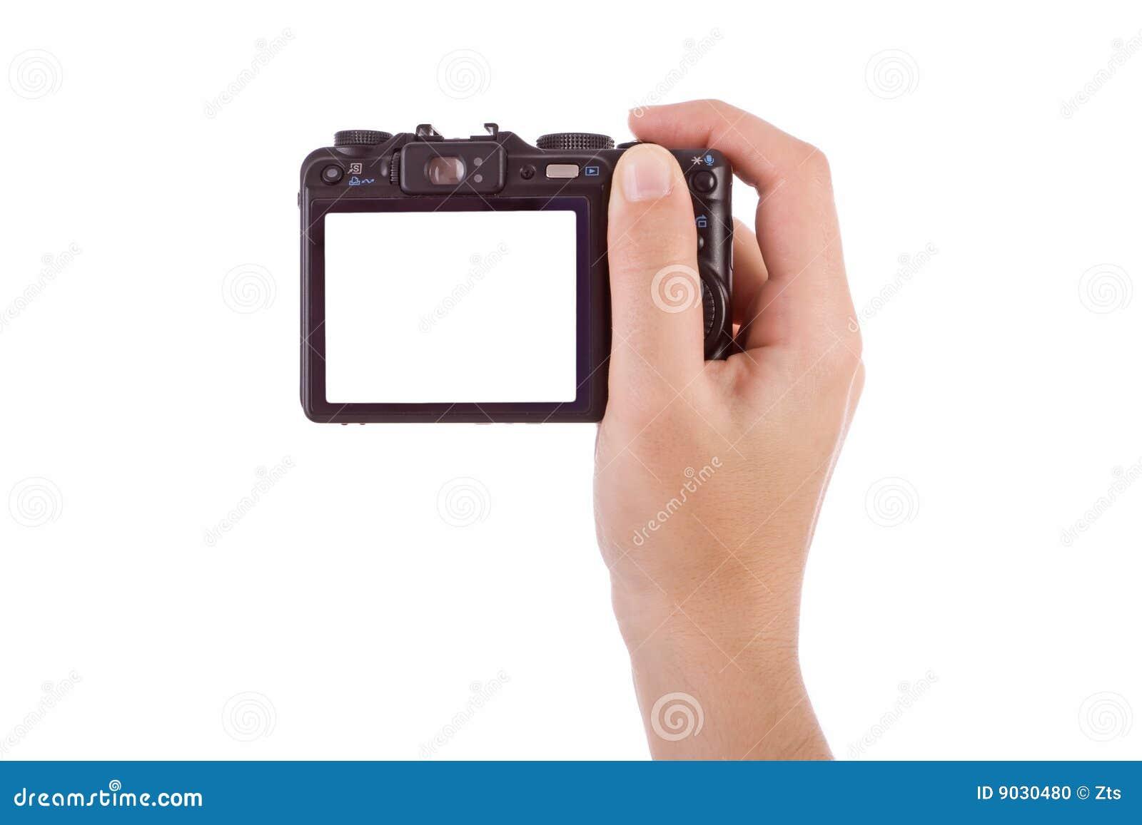 Mano che fotografa con una macchina fotografica digitale