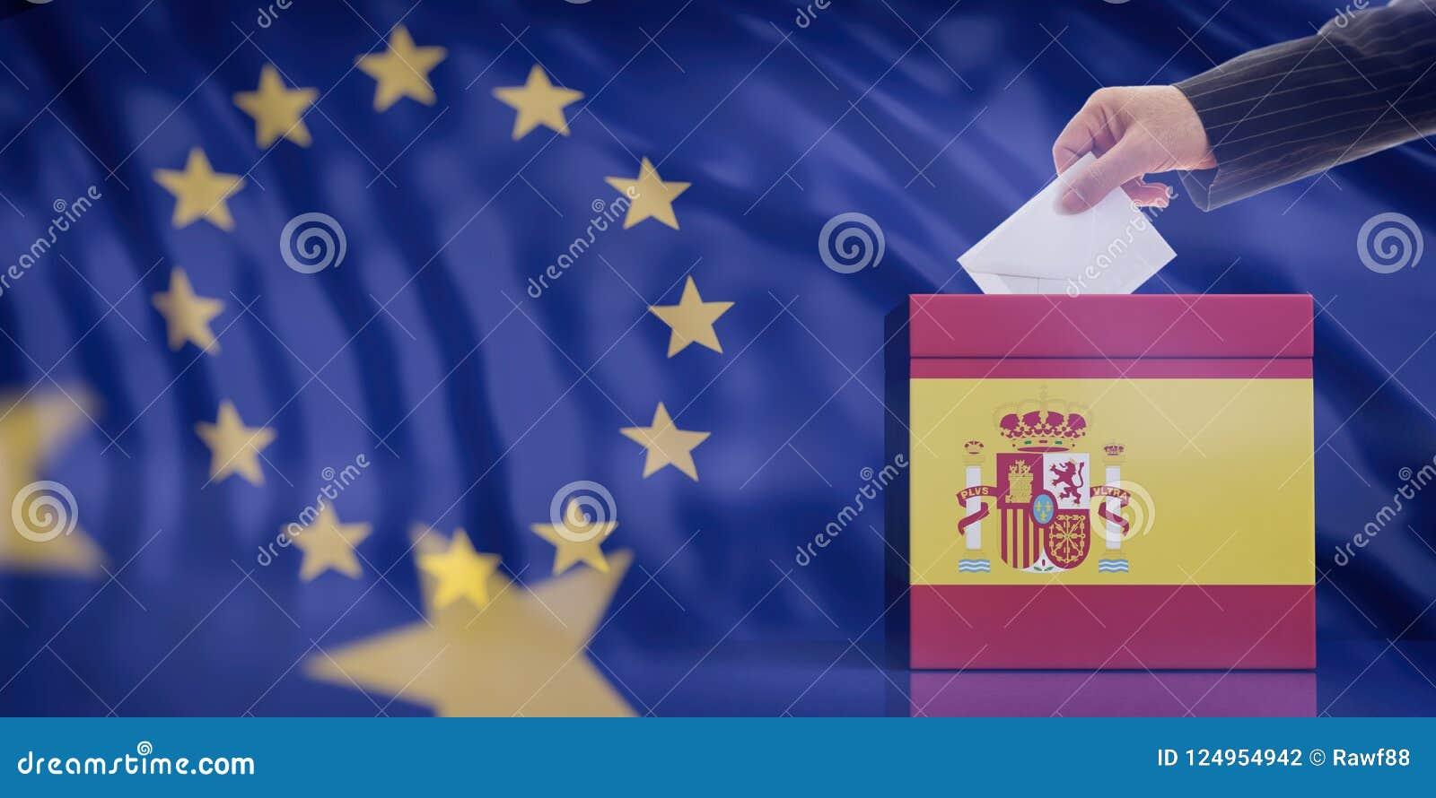 Mano che inserisce una busta in un urna della bandiera della Spagna sul fondo della bandiera di Unione Europea illustrazione 3D