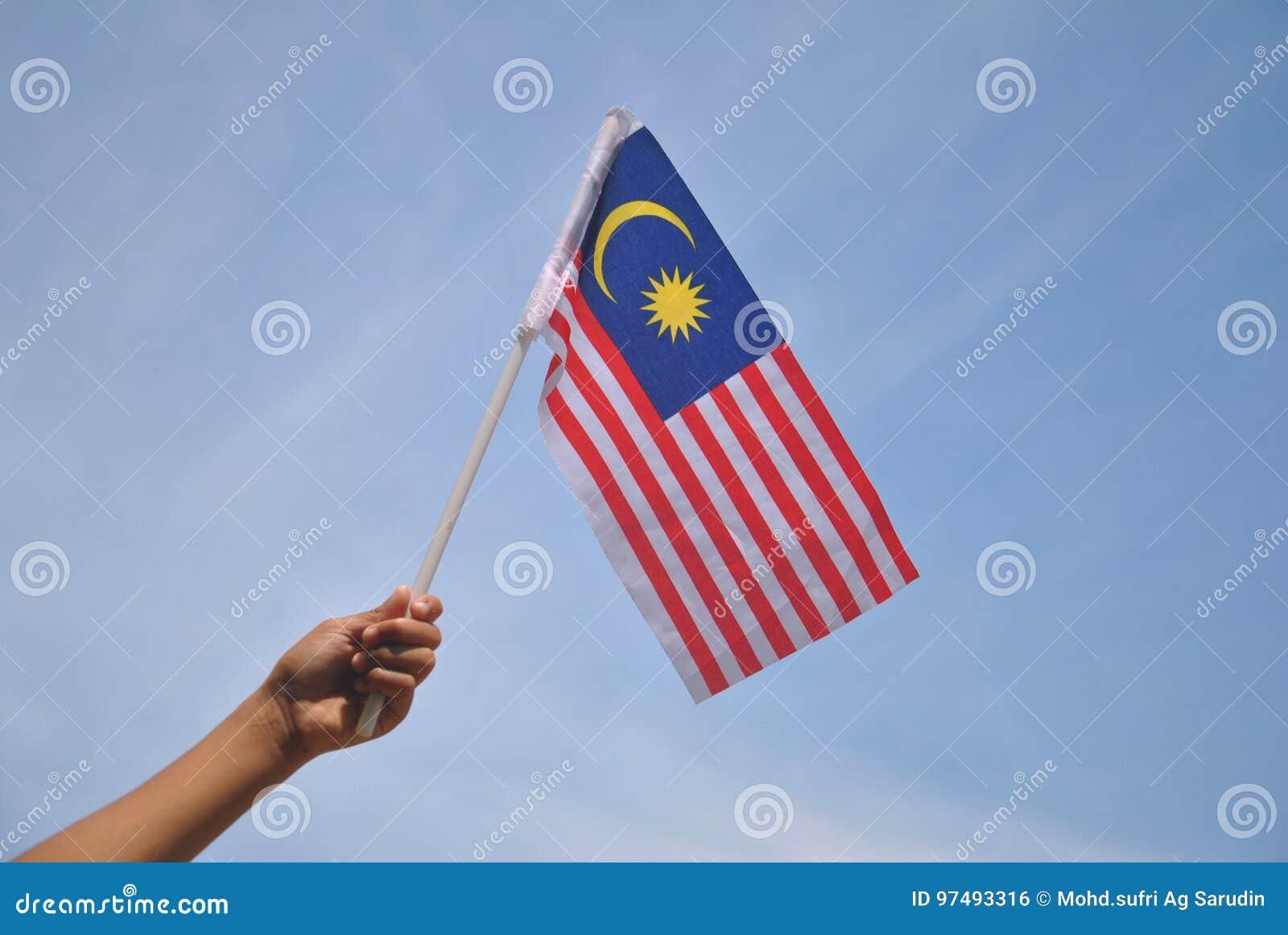 Mano che tiene la bandiera della Malesia
