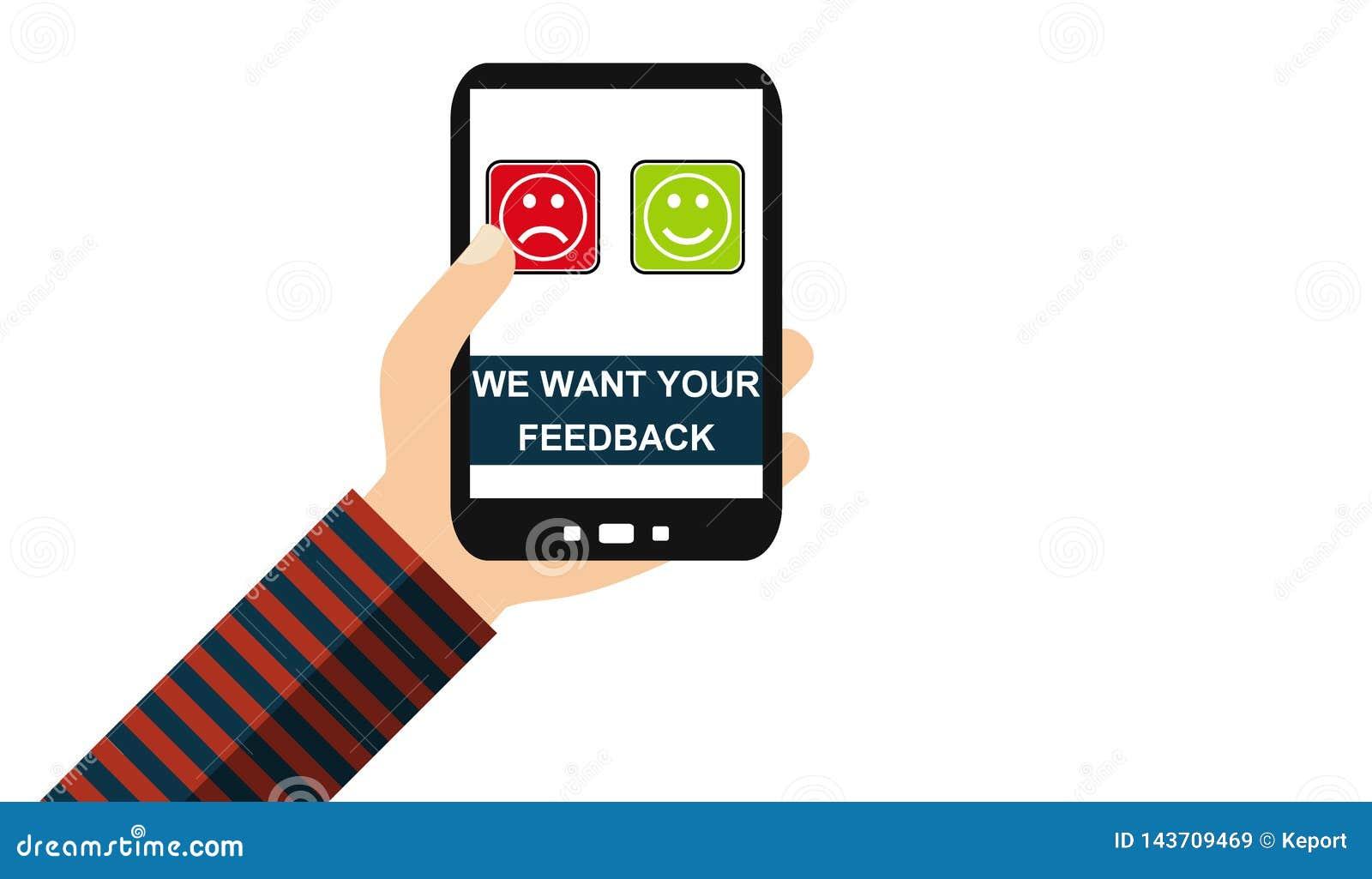 Mano con el teléfono móvil: Queremos su reacción - diseño plano