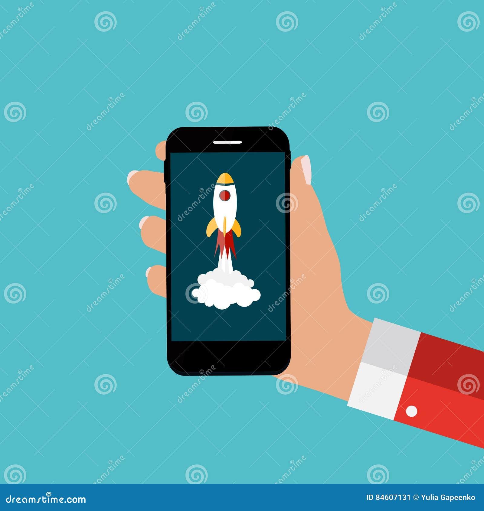 Mano con il telefono cellulare e Rocket astratti come avviano su mascherina