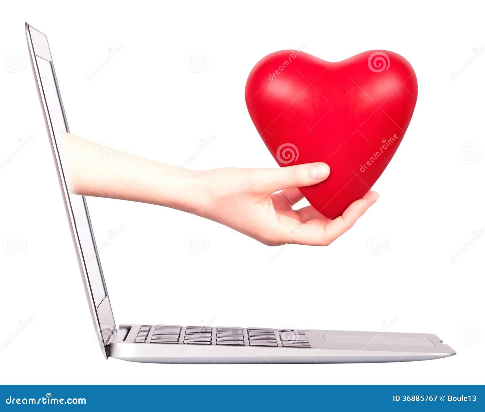 Download Mano Con Un Cuore - Regalo E Computer Portatile Immagine Stock - Immagine di internet, vita: 36885767
