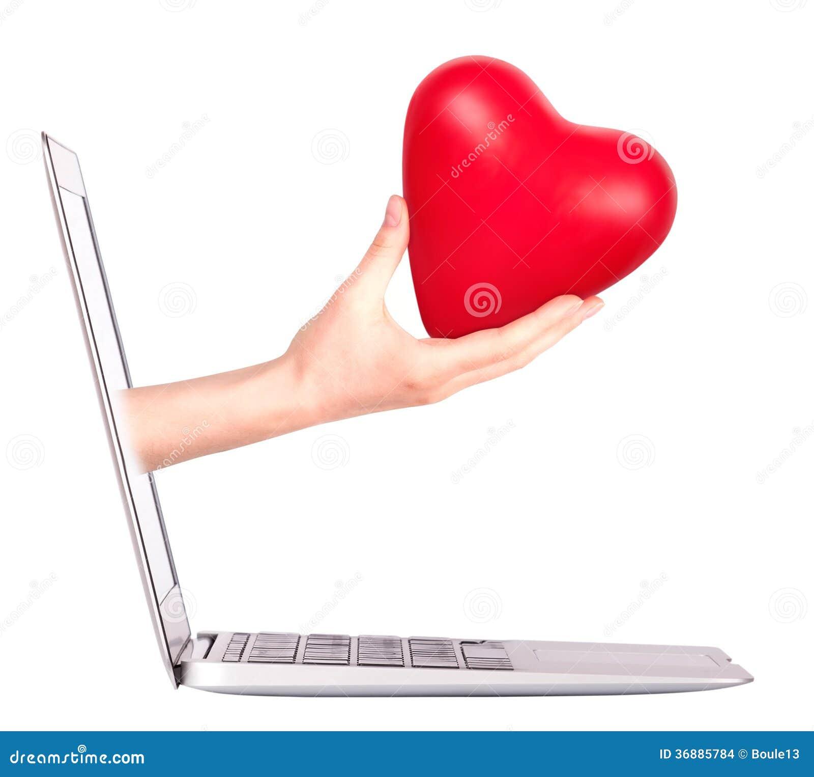 Download Mano Con Un Cuore - Regalo E Computer Portatile Fotografia Stock - Immagine di background, internet: 36885784